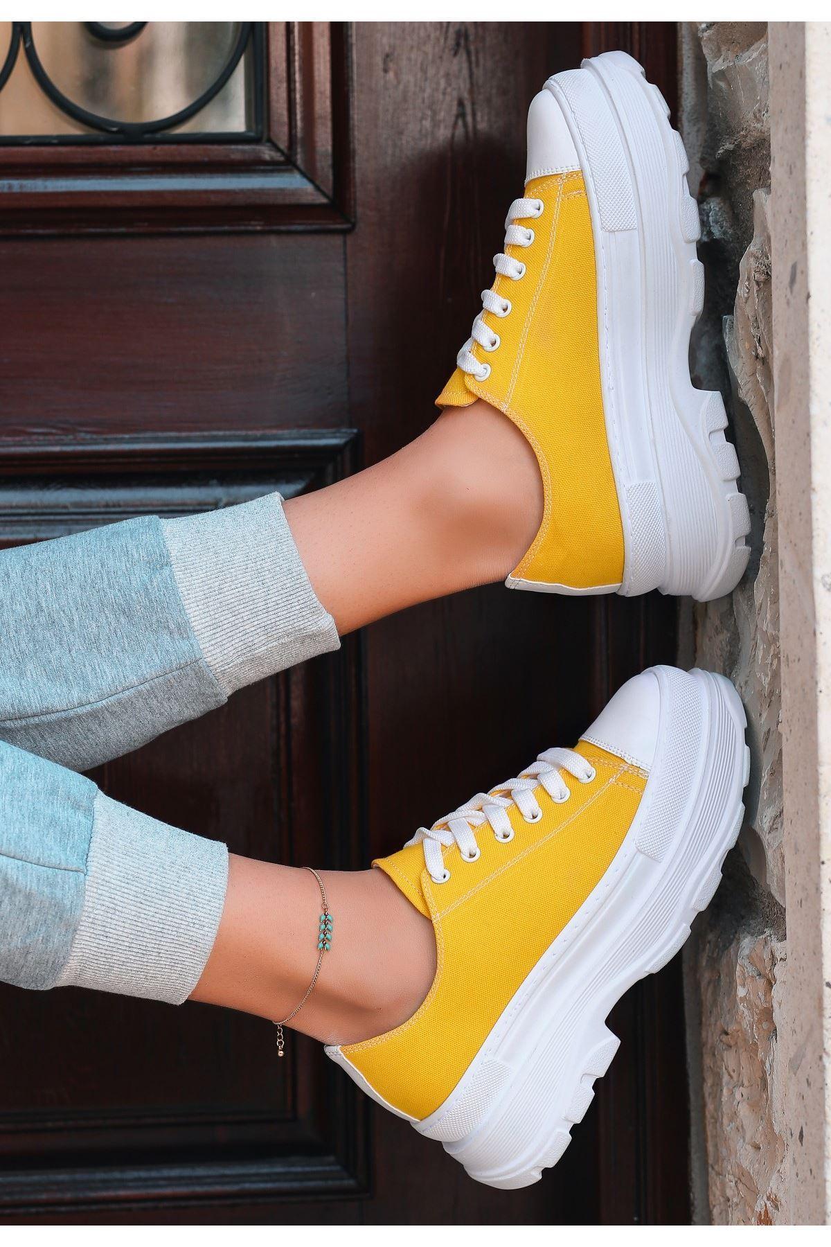 Bery Sarı Keten Bağcıklı Spor Ayakkabı