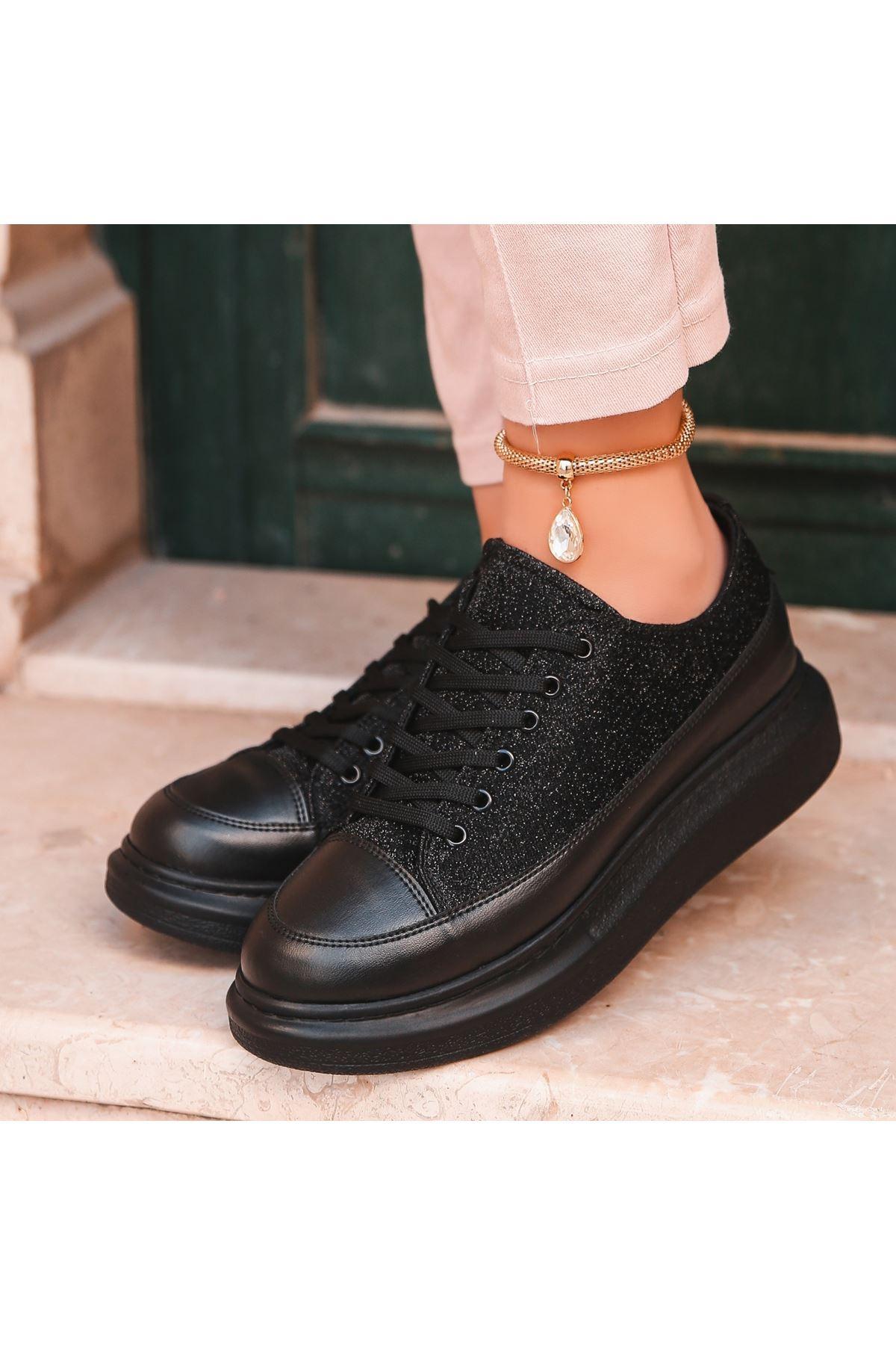 Voni Siyah Cilt Simli Siyah Taban Spor Ayakkabı