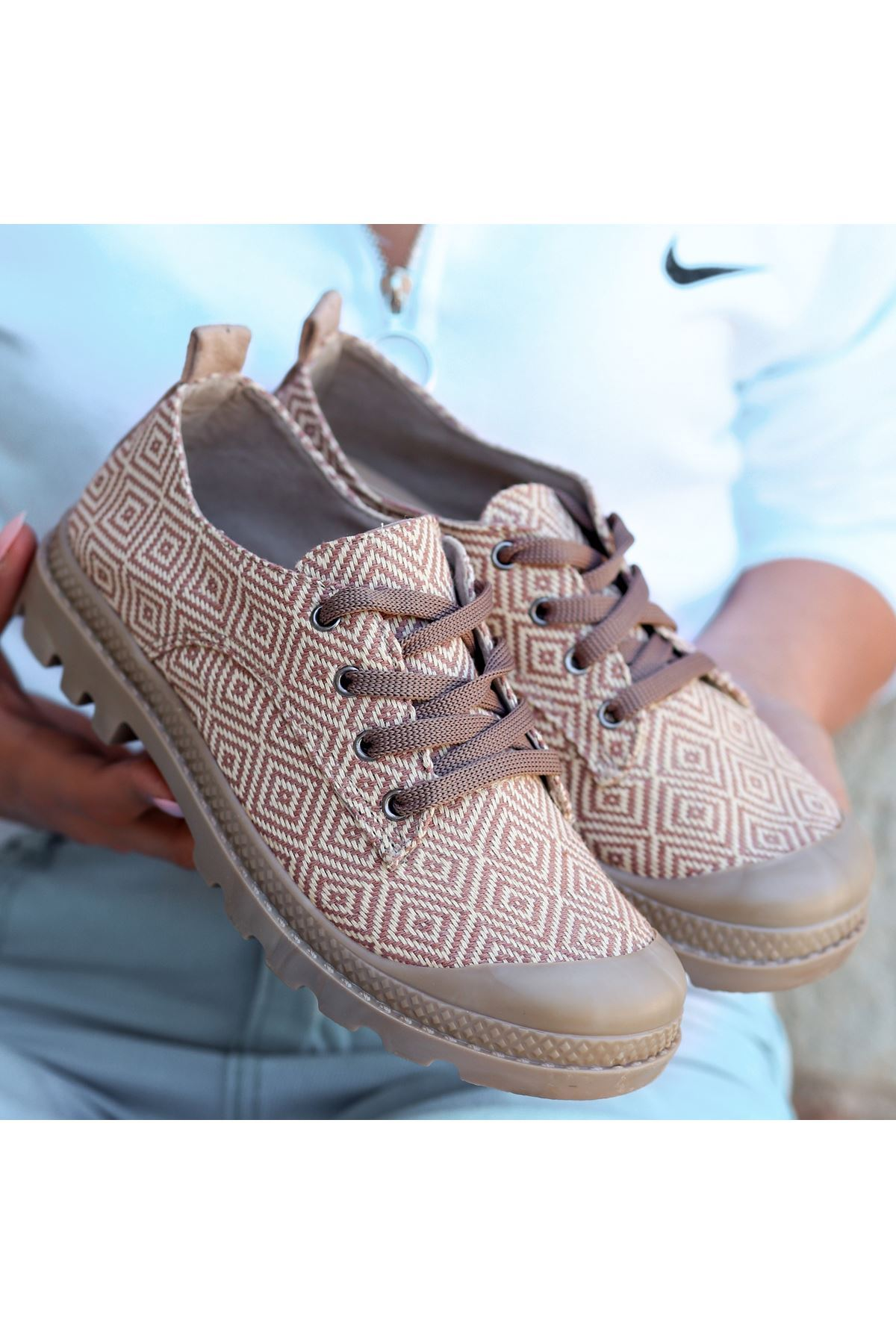 Mash Vizon Keten Desenli Bağcıklı Spor Ayakkabı