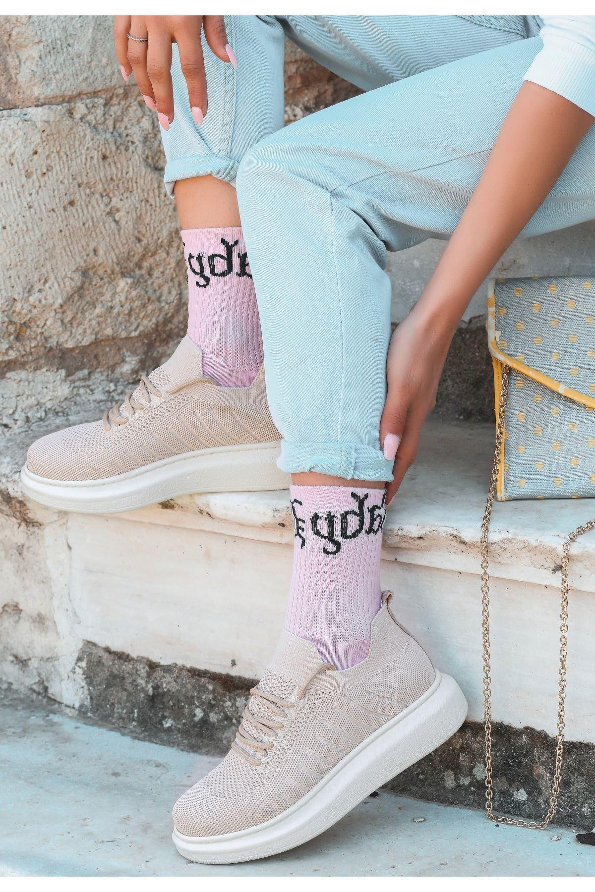 Fidox Krem Triko Bağcıklı Spor Ayakkabı