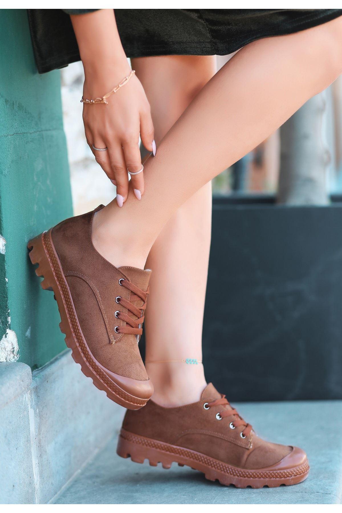 Mash Taba Süet Bağcıklı Spor Ayakkabı