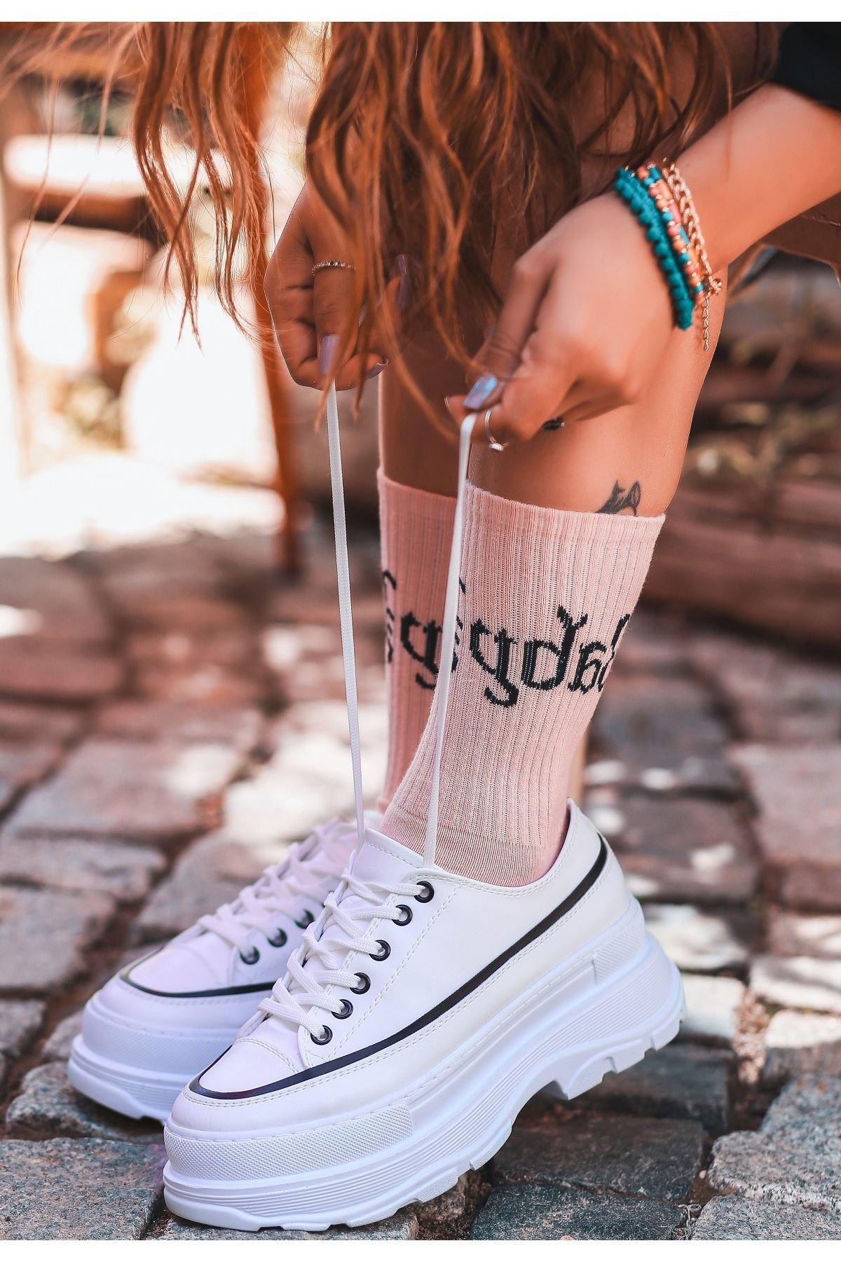 Bery Beyaz Cilt Bağcıklı Spor Ayakkabı