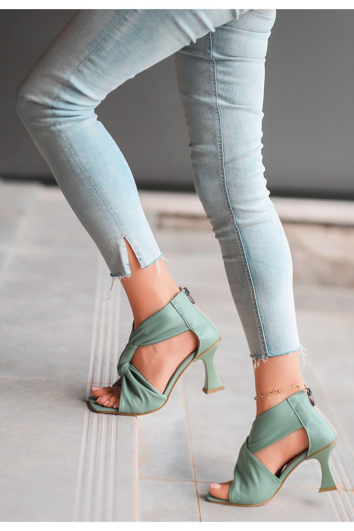 Myem Mint Yeşil Cilt Topuklu Ayakkabı