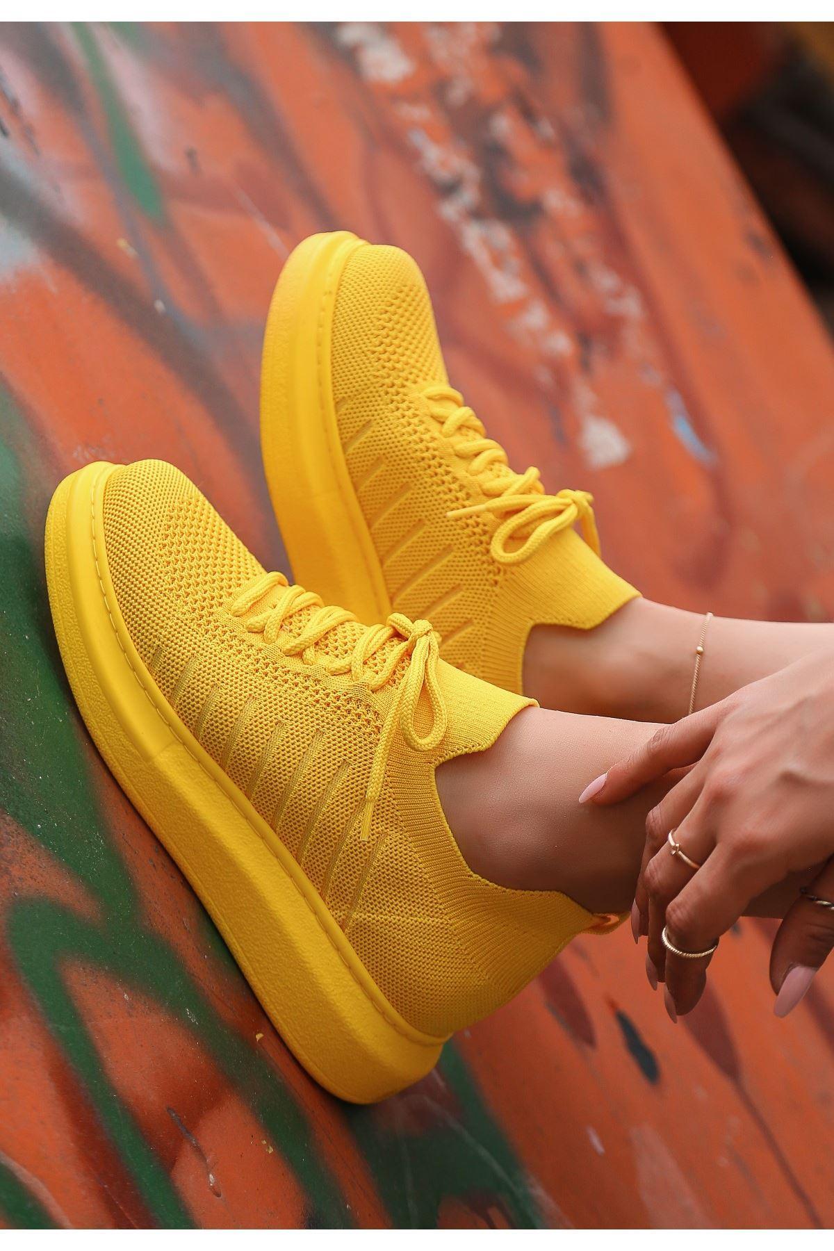 Fidox Sarı Triko Bağcıklı Spor Ayakkabı