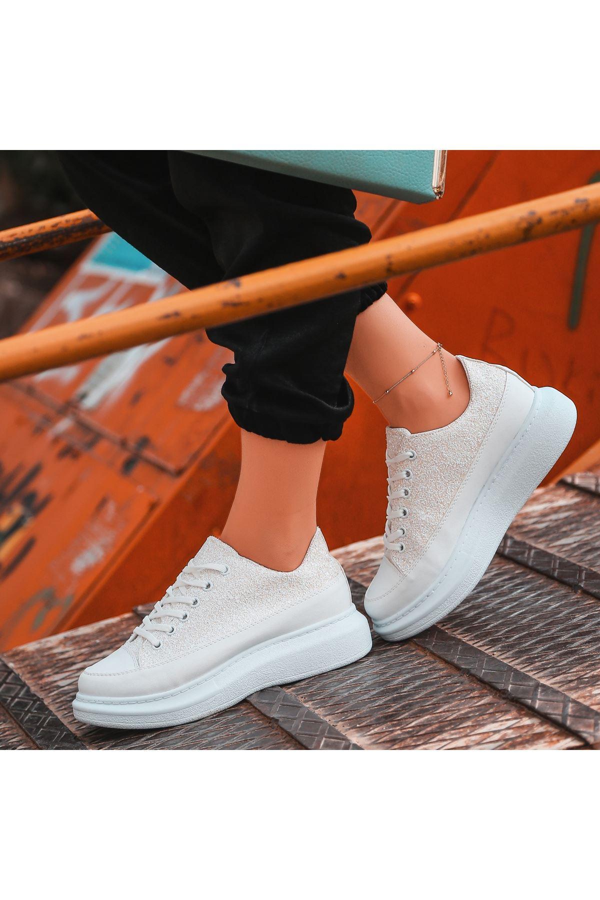Voni Beyaz Cilt Sim Detaylı Spor Ayakkabı