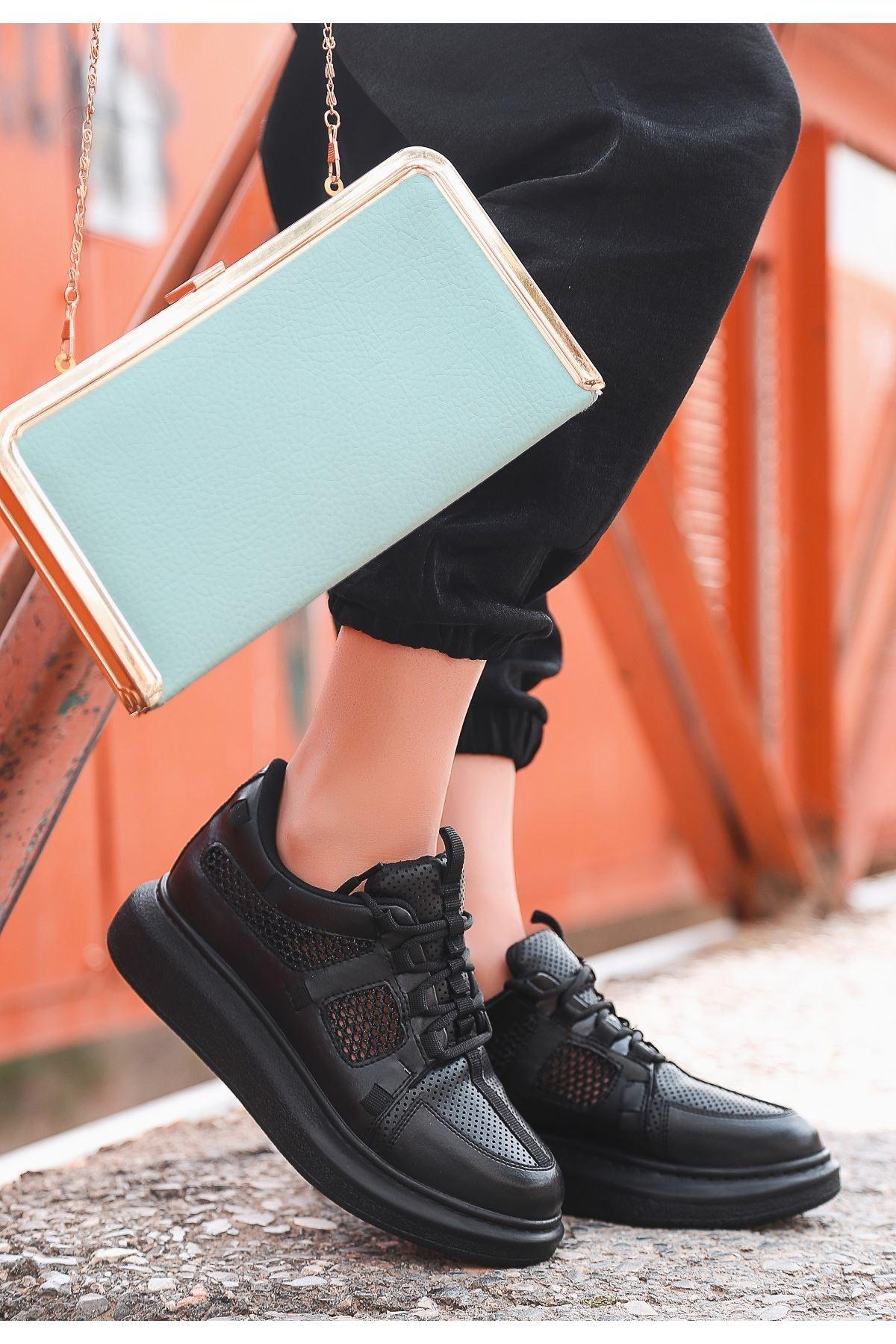 Voni Siyah Cilt Fileli Dantelli Spor Ayakkabı