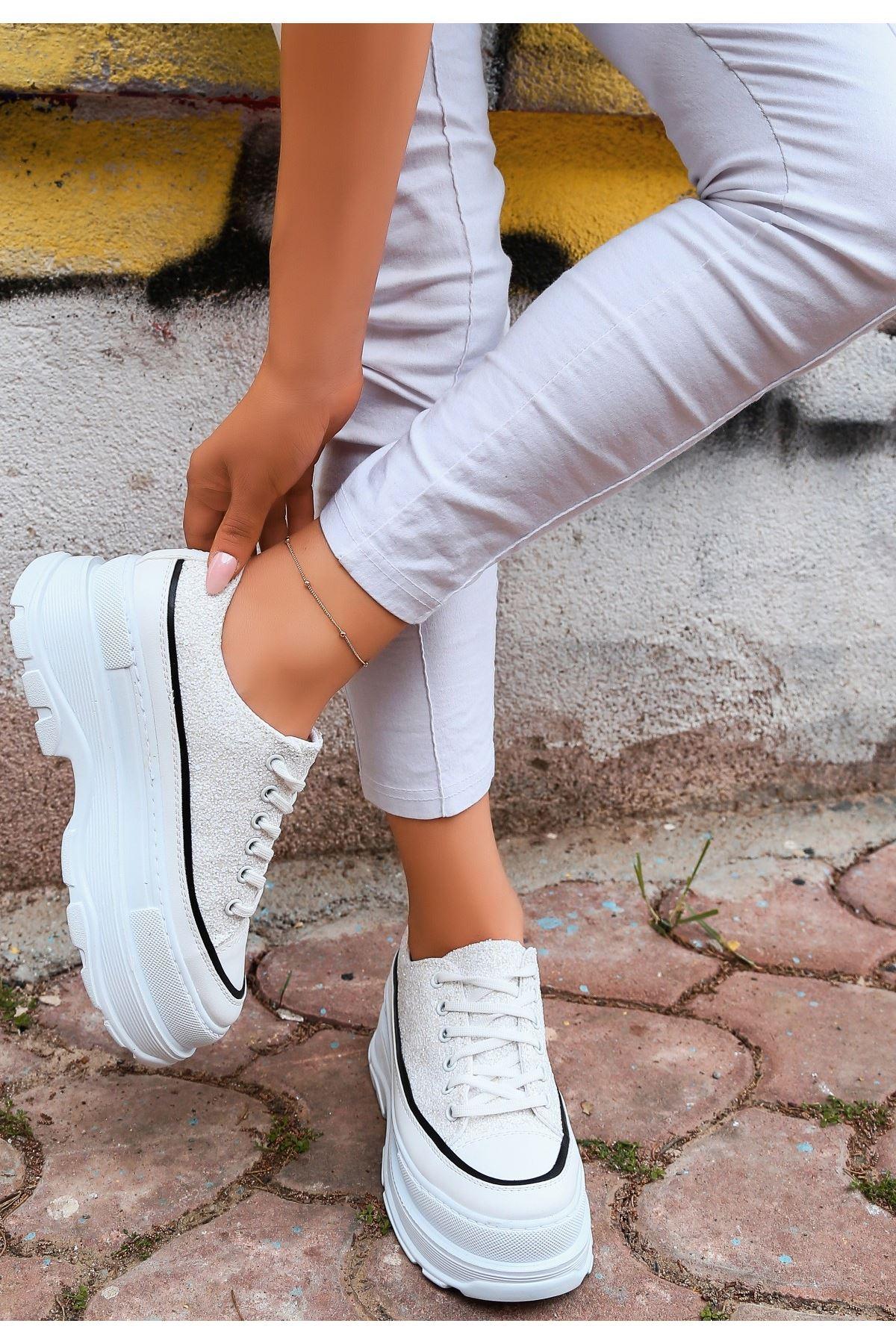 Bery Beyaz Cilt Sedef Simli Bağcıklı Spor Ayakkabı