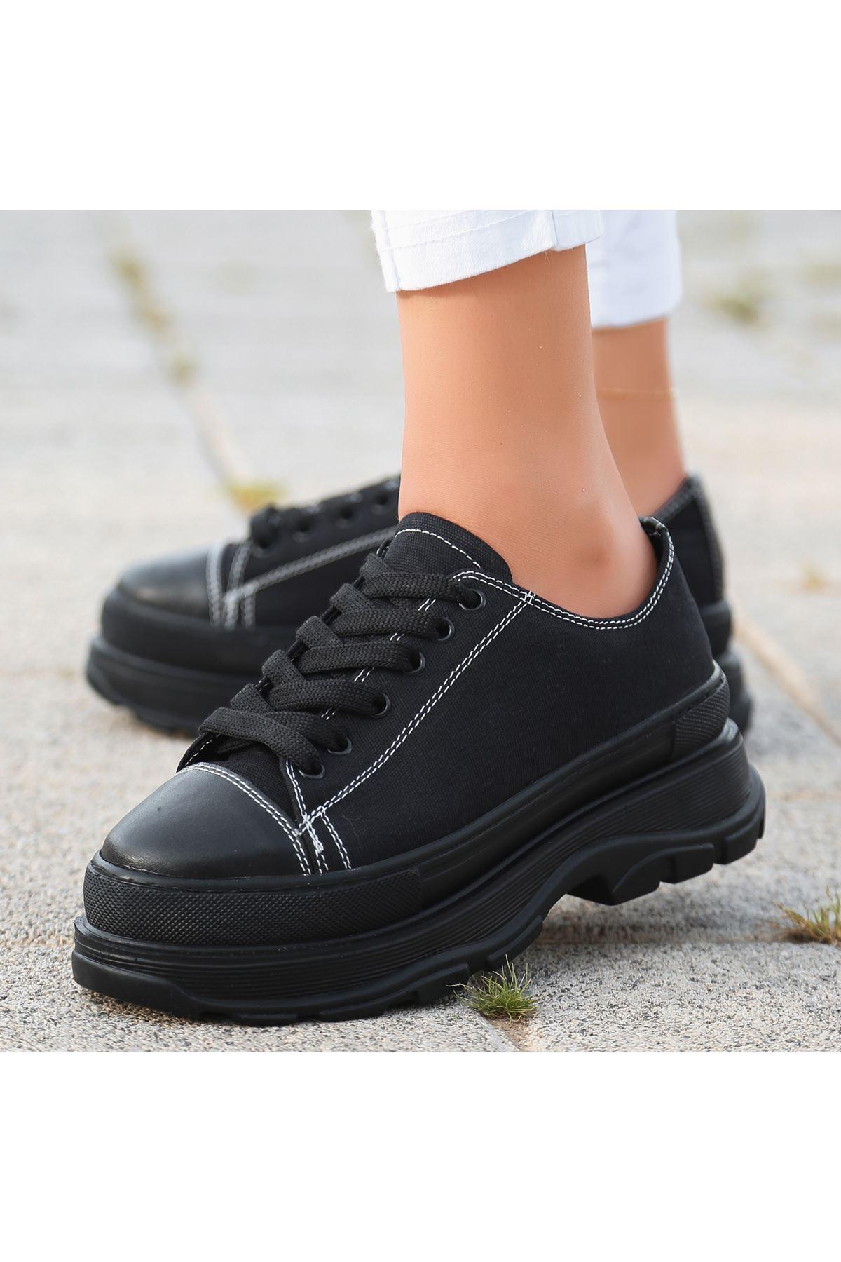 Bery Siyah Keten Bağcıklı Spor Ayakkabı