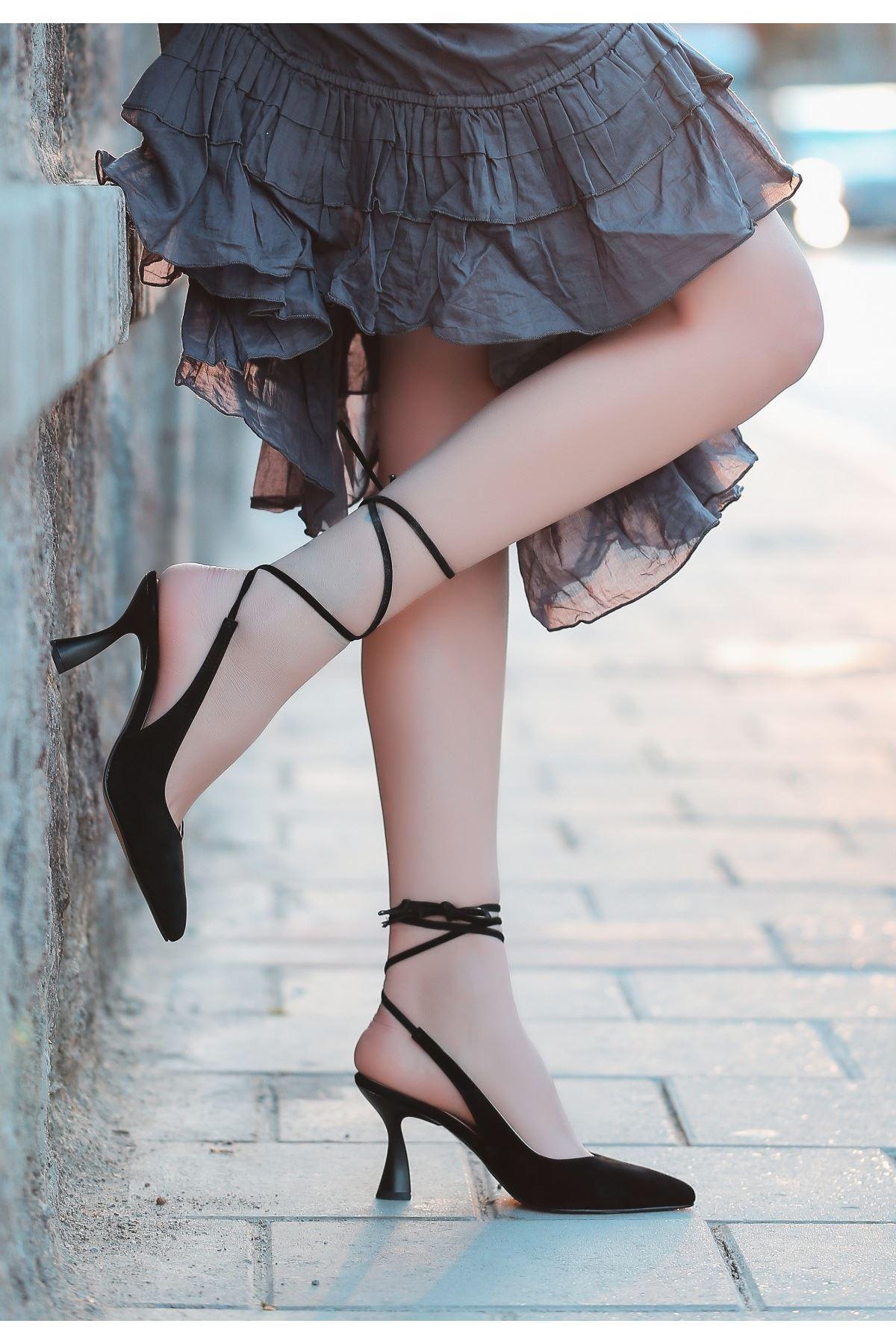 Wonna Siyah Süet Topuklu Ayakkabı