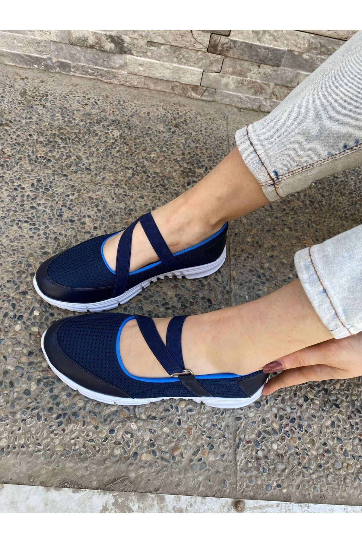 Maty Lacivert Cilt Mavi Detaylı Babet Ayakkabı