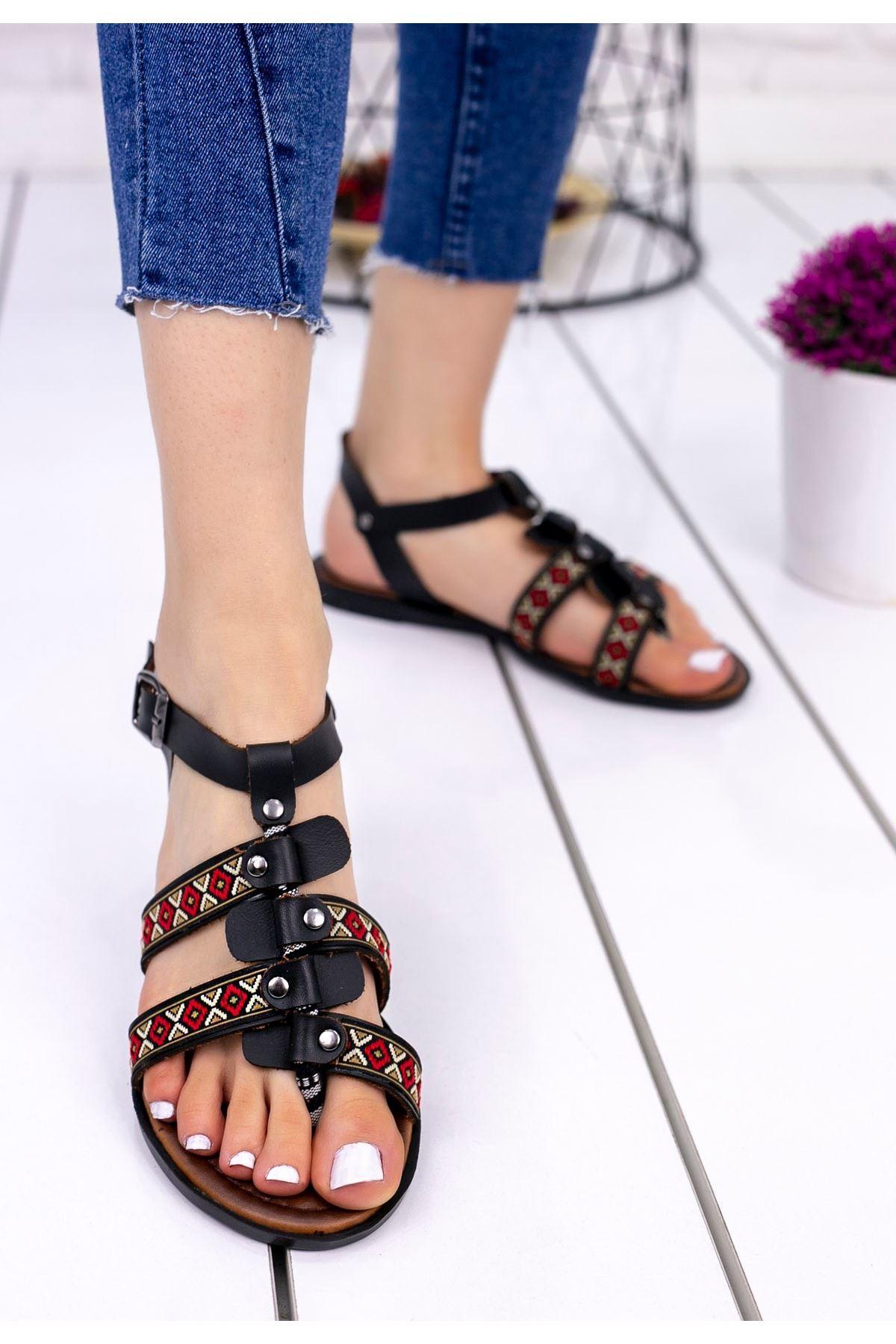 Meryy Siyah Cilt Sandalet