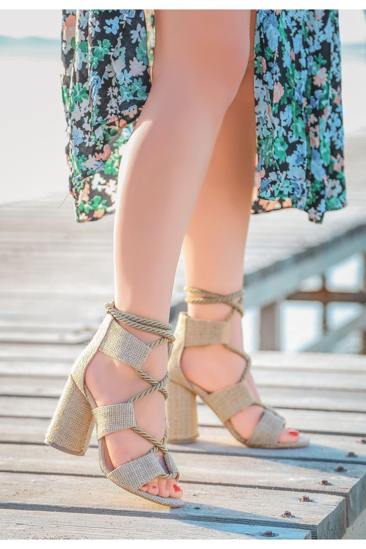 Esto Vizon Hasır Topuklu Ayakkabı