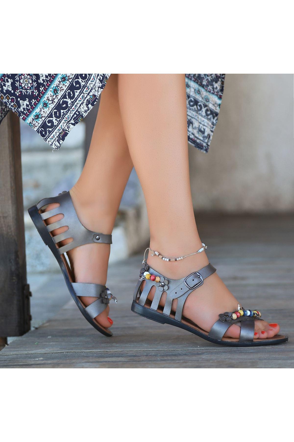 Angelia Platin Cilt Sandalet