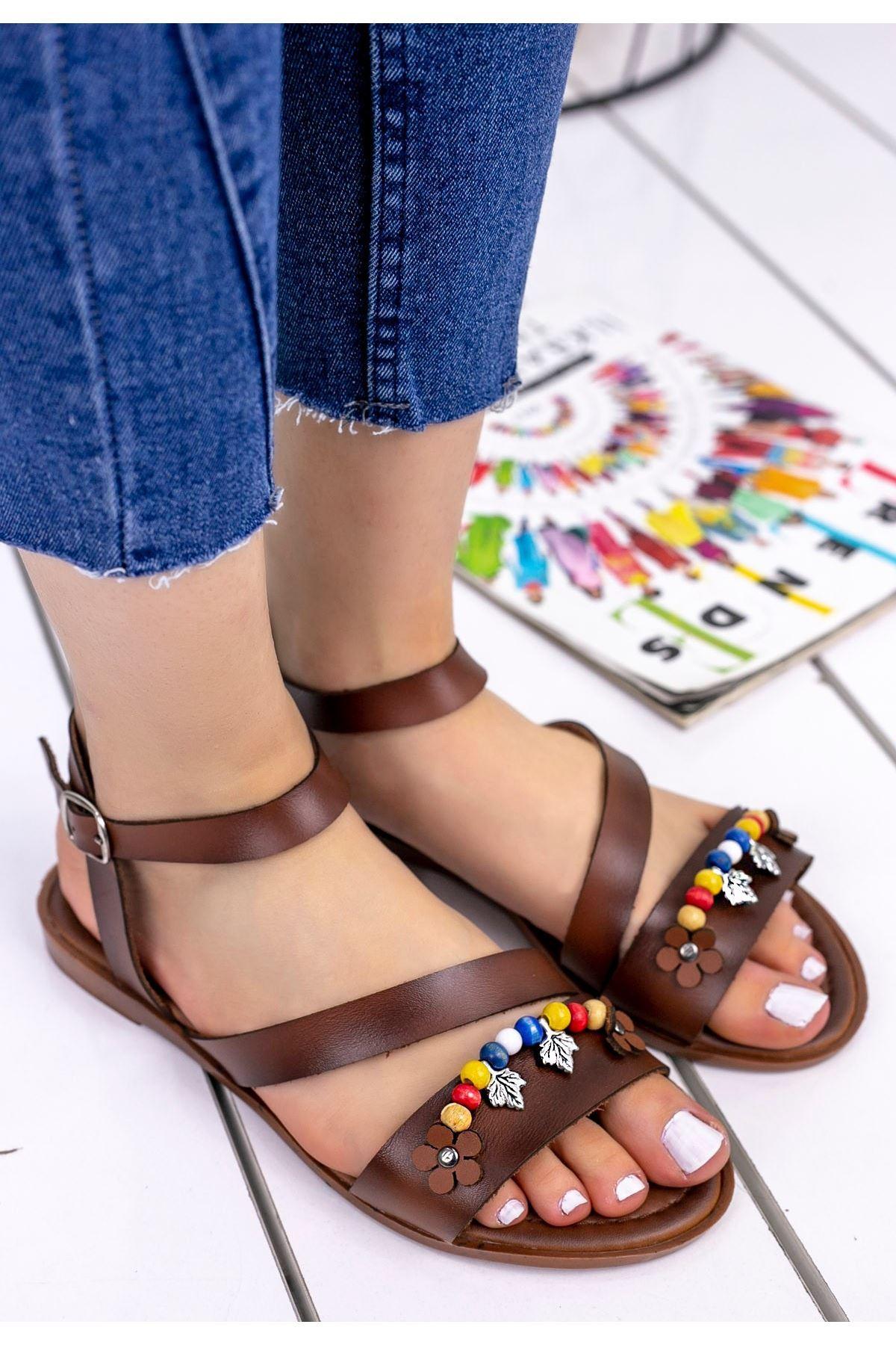 Seherya Taba Cilt Sandalet