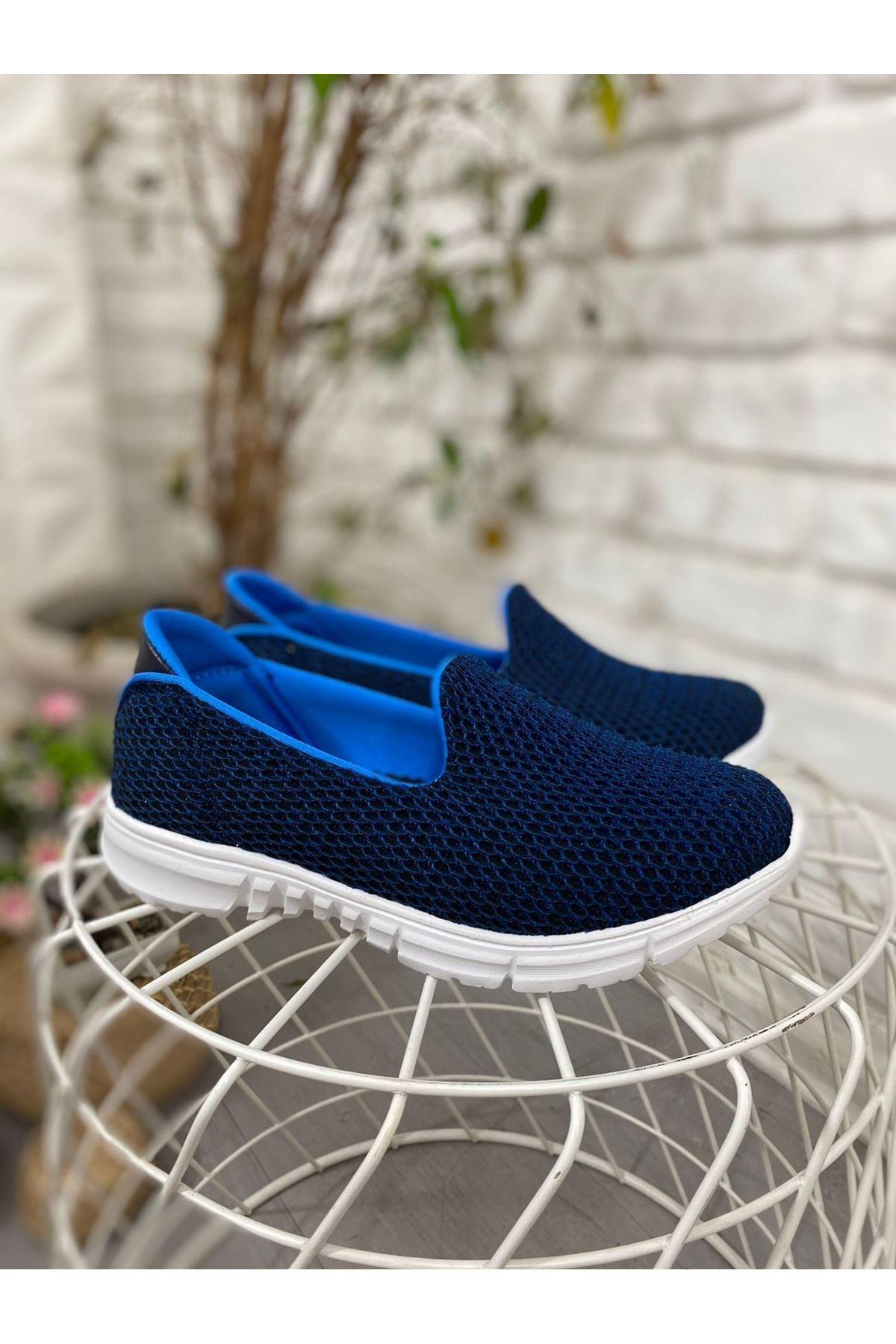 Enox Lacivert Streç  Babet Ayakkabı