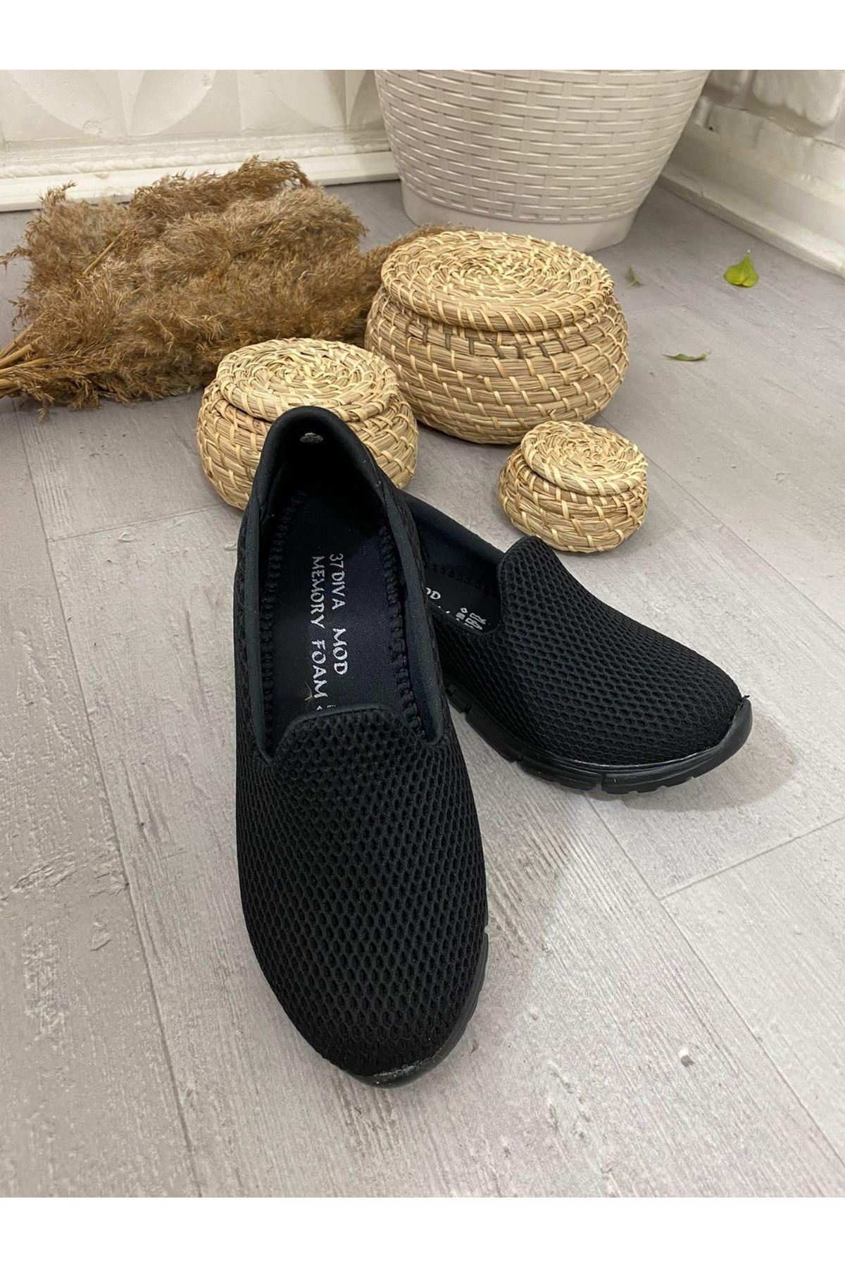 Enox Siyah Streç Fileli Babet Ayakkabı
