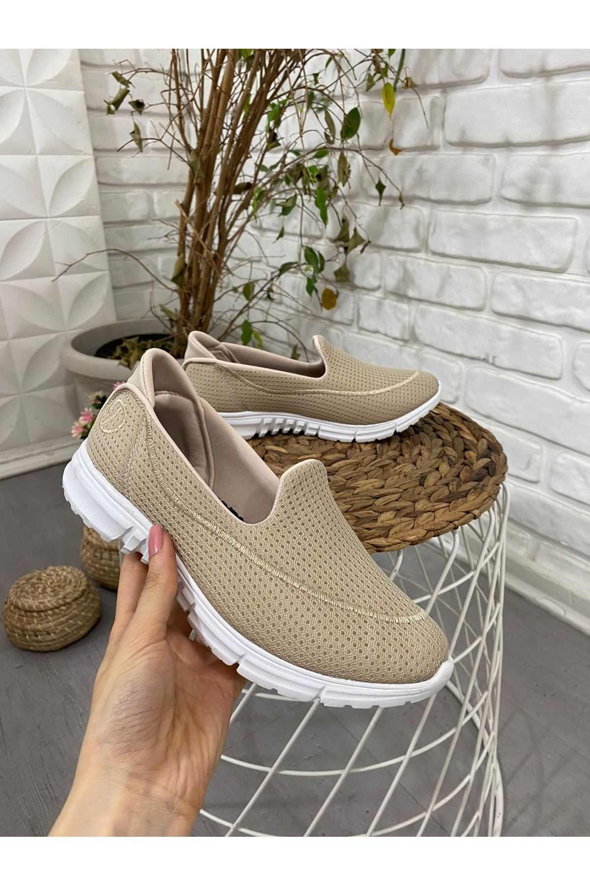 Enox Krem Streç  Babet Ayakkabı