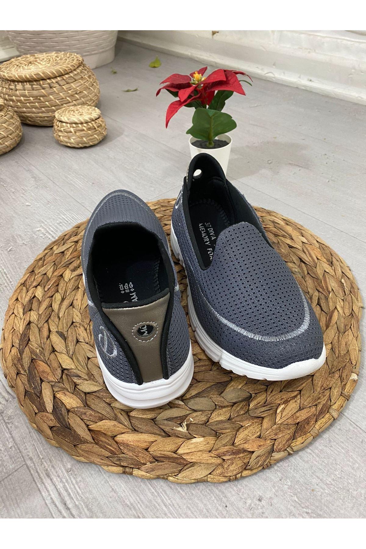 Enox Gri Streç  Babet Ayakkabı