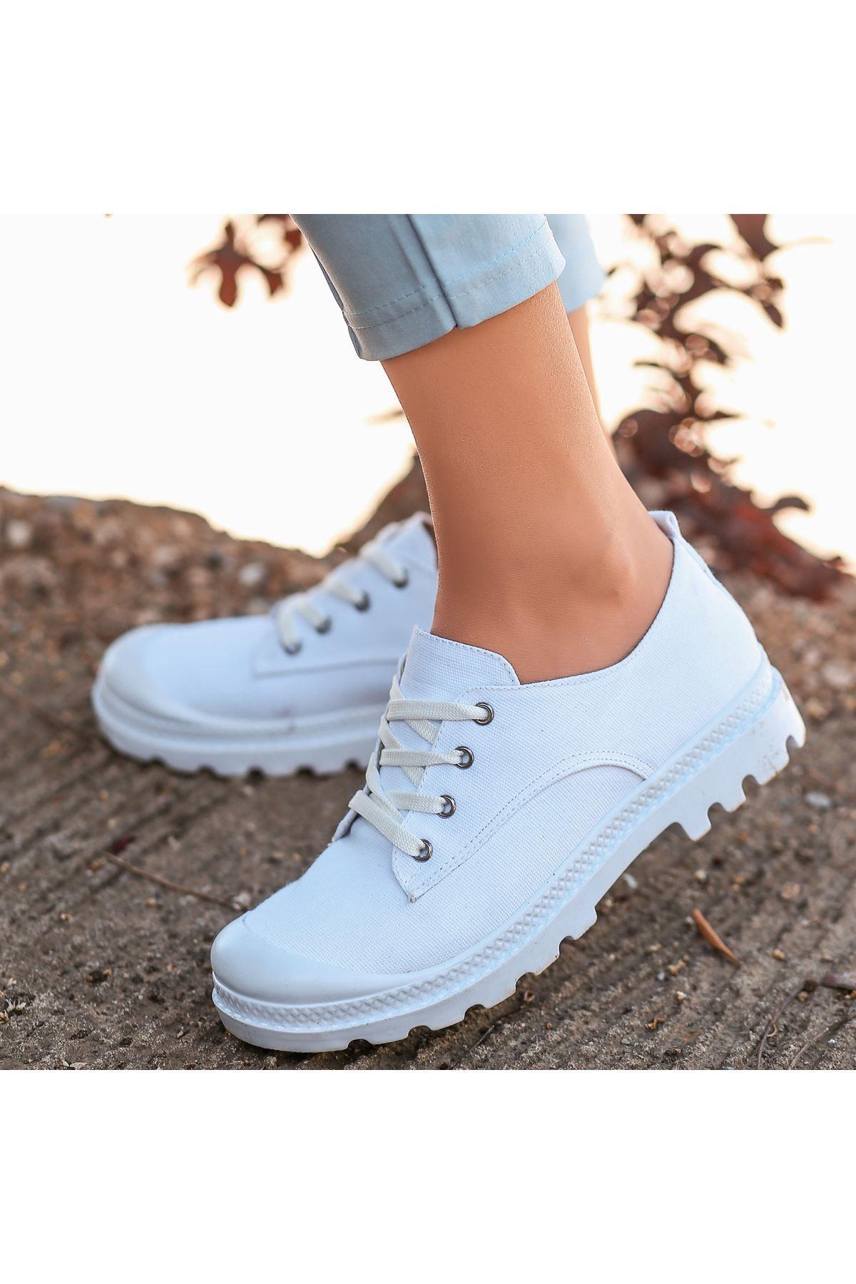 Mash Beyaz Keten Bağcıklı Spor Ayakkabı