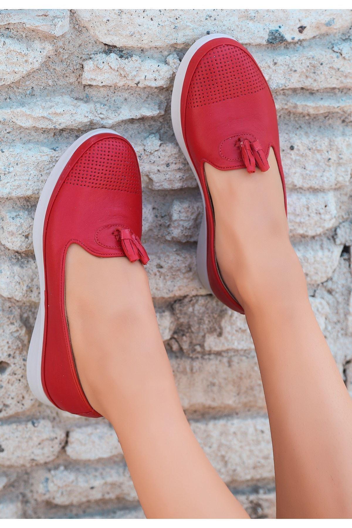 Avgu Kırmızı Deri Babet Ayakkabı