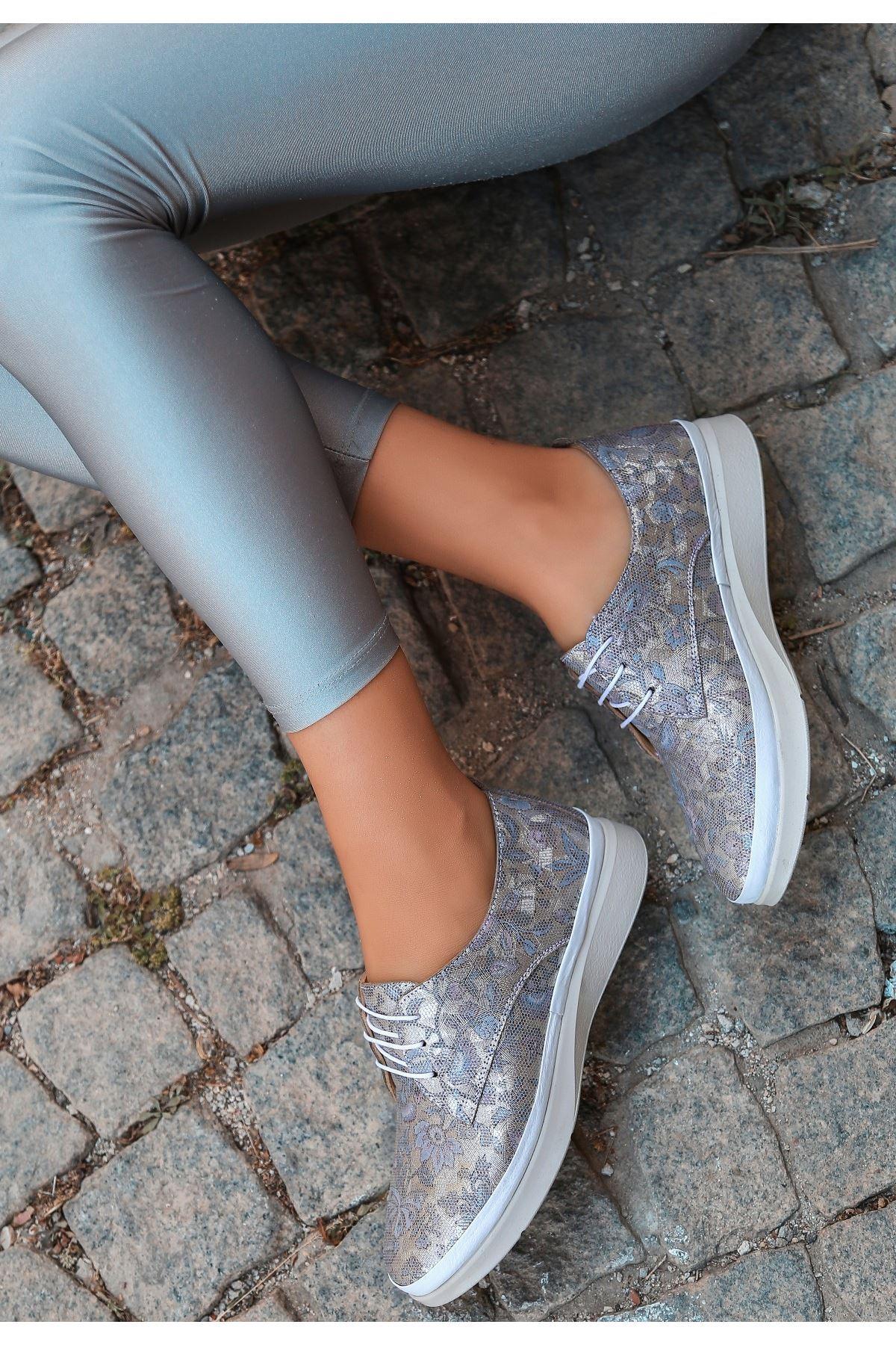 Ries Vizon Deri Desenli Bağcıklı Babet Ayakkabı