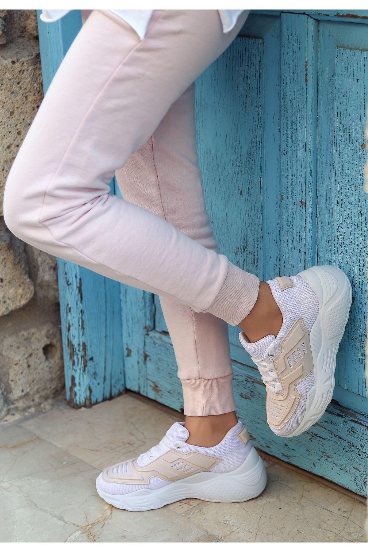 Maiy Krem Cilt Fileli Spor Ayakkabı