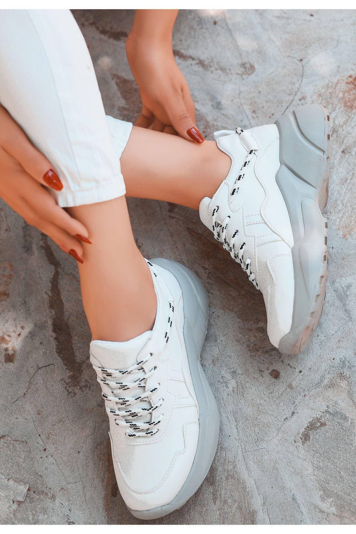 Silio Beyaz Cilt Gri Tabanlı Spor Ayakkabı