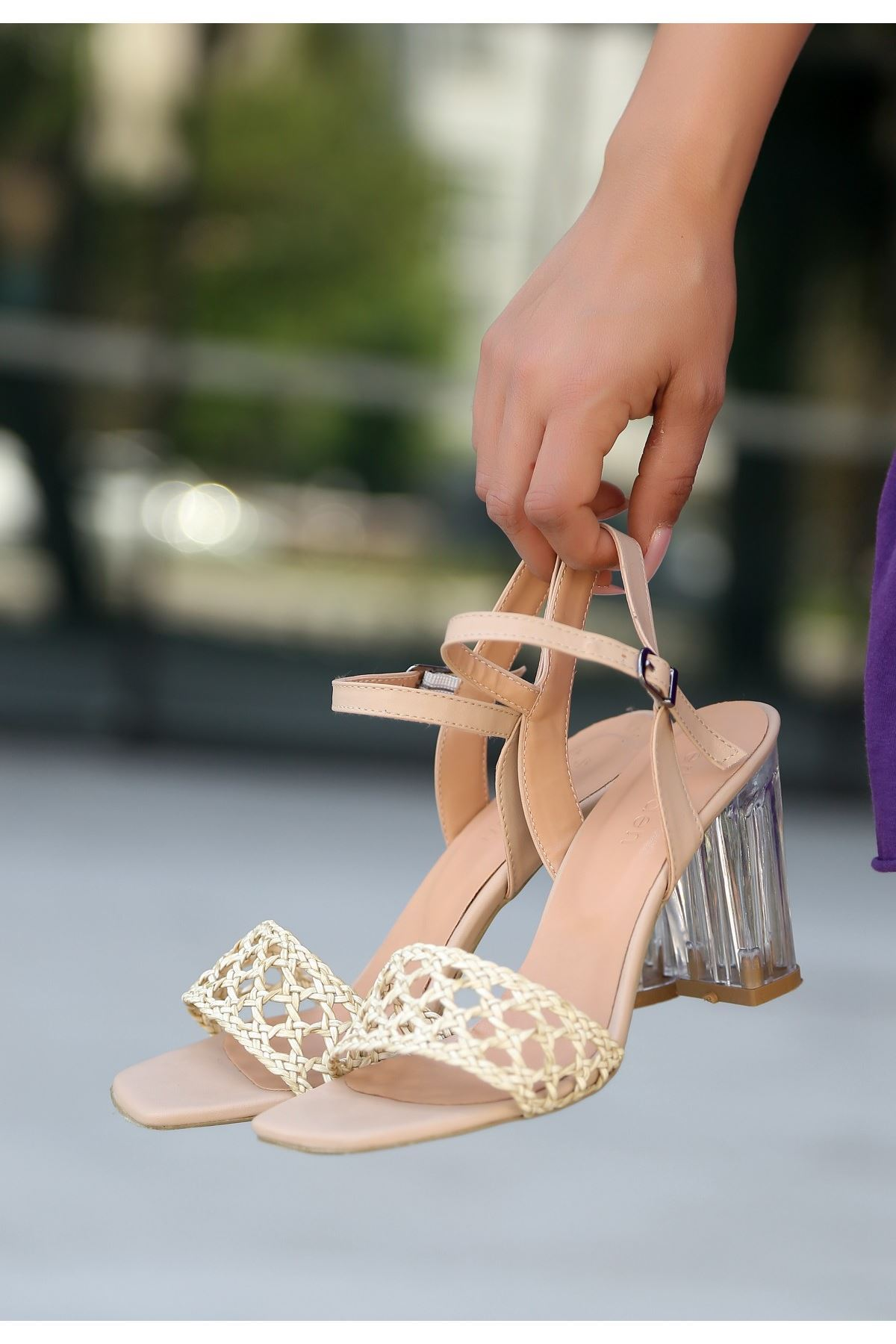 Lory Vizon Cilt Örgülü Topuklu Ayakkabı
