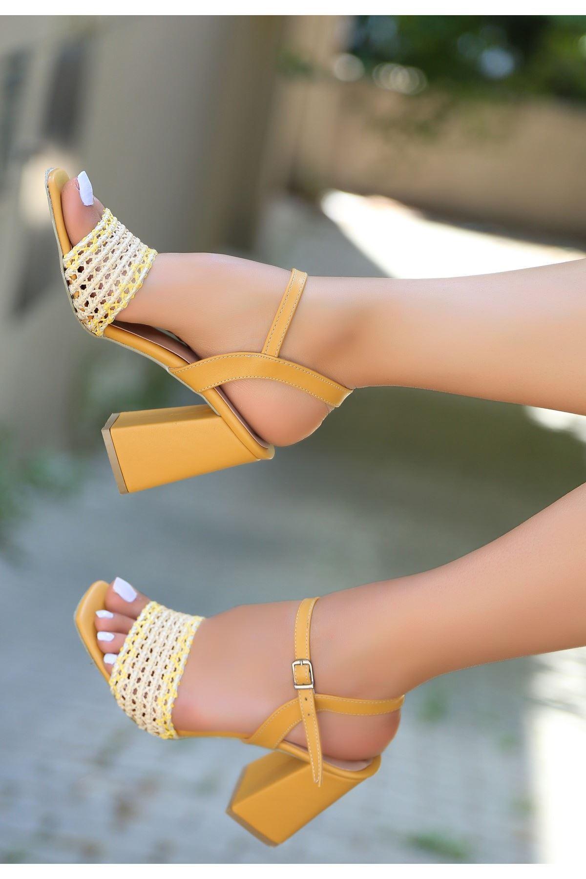 Sesto Hardal Cilt Örgülü Topuklu Ayakkabı