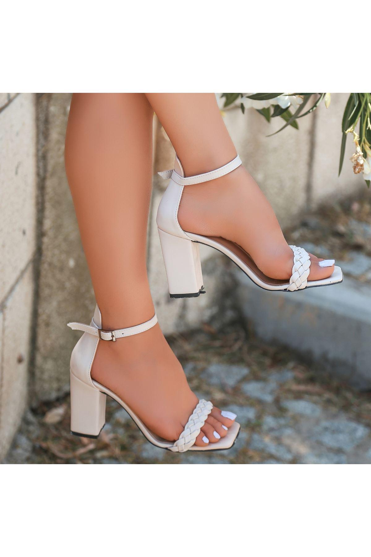 Niry Krem Cilt Topuklu Ayakkabı