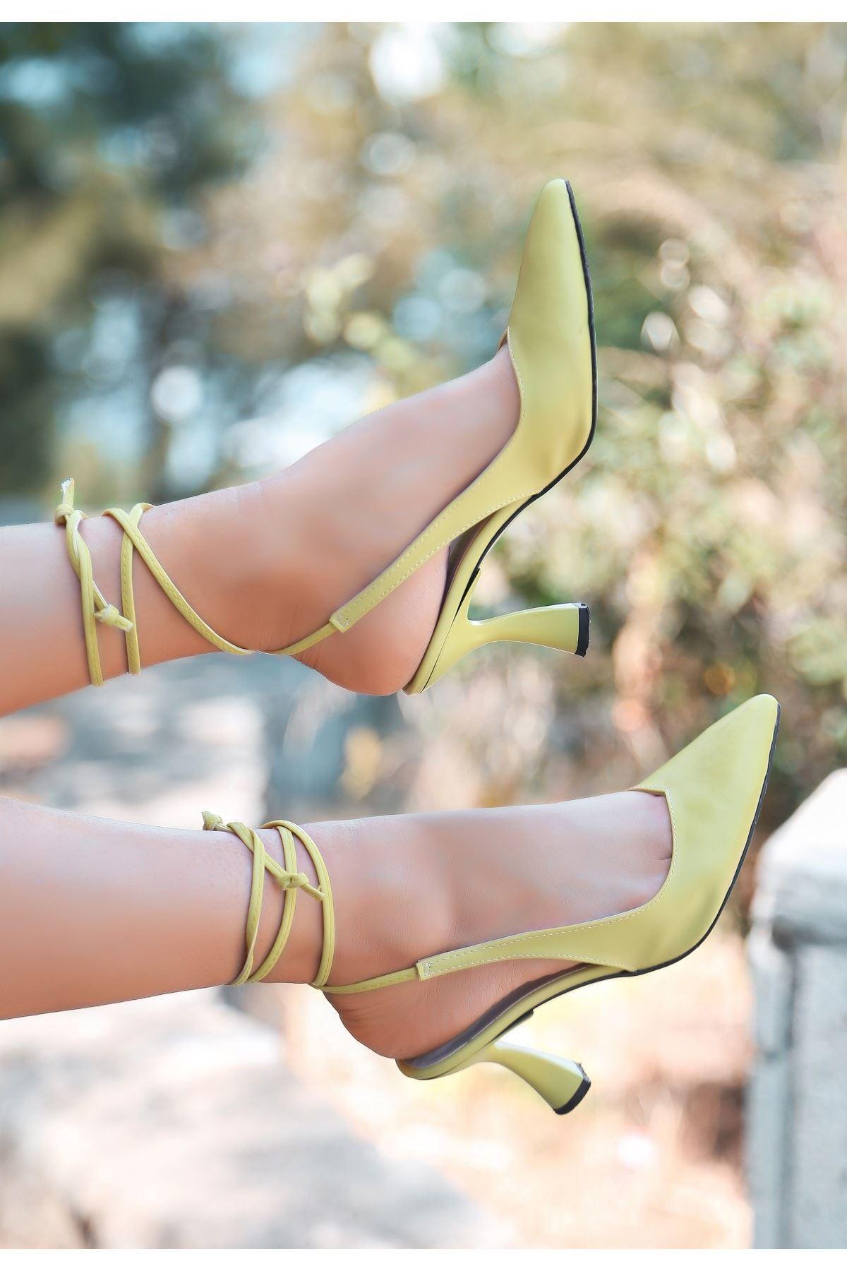 Wonna Sarı Cilt Topuklu Ayakkabı