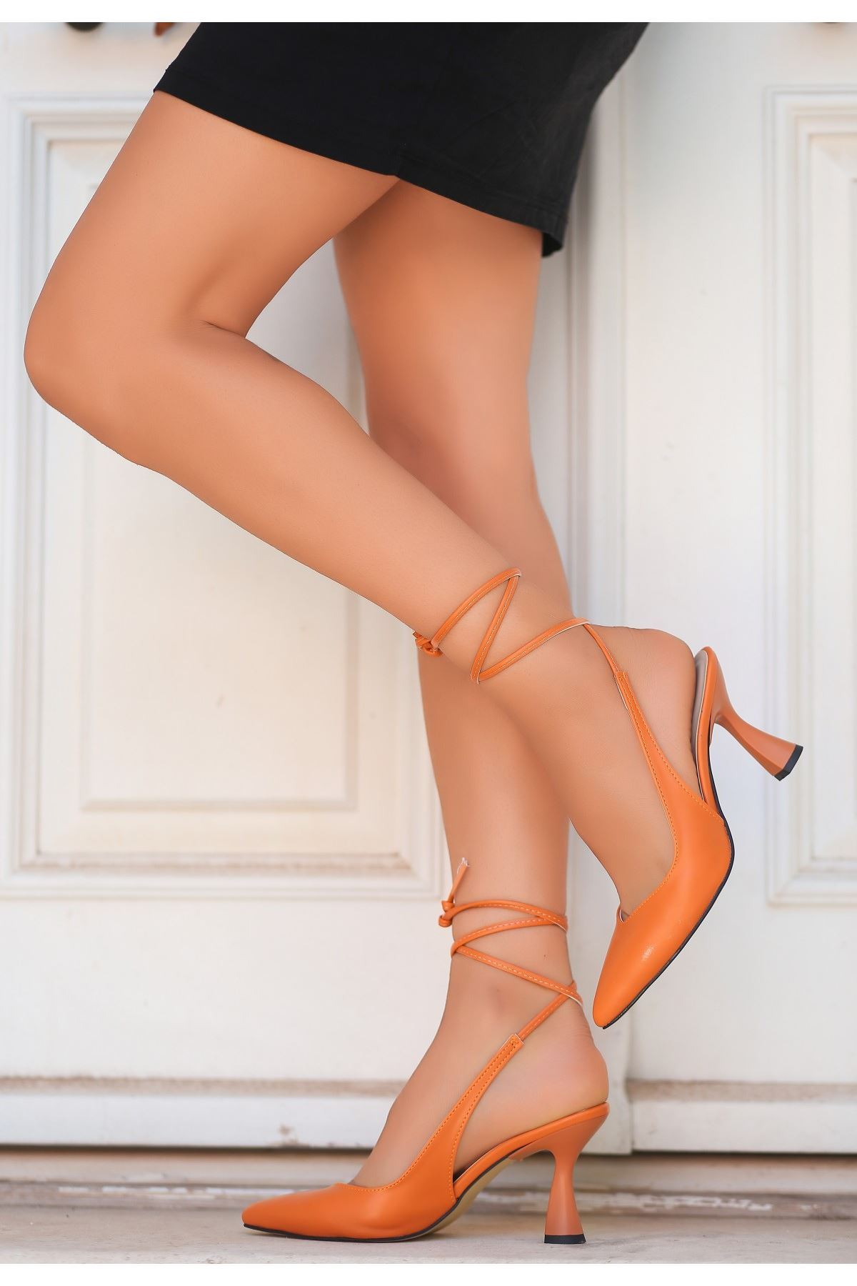 Wonna Turuncu Cilt Topuklu Ayakkabı