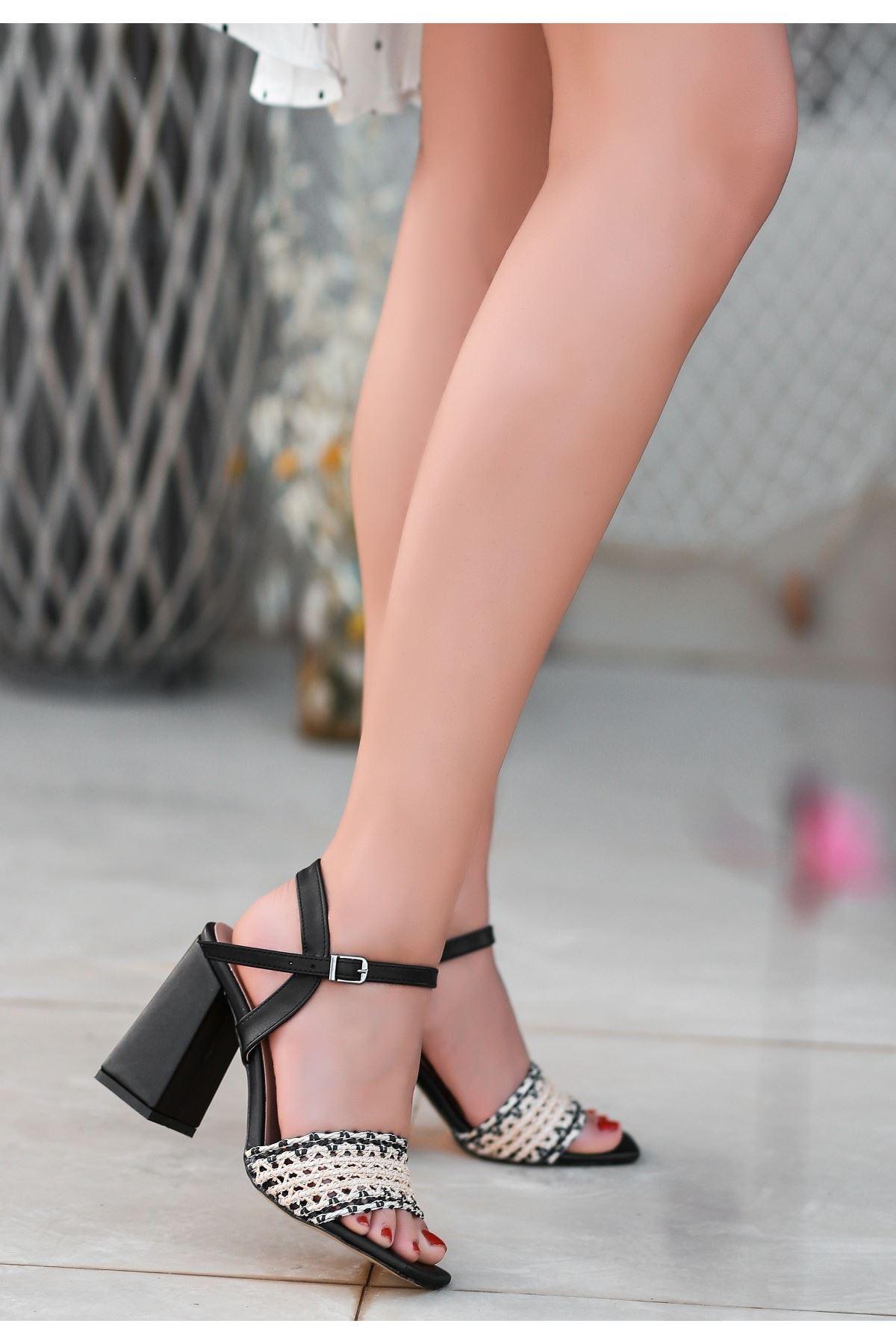 Sesto Siyah Cilt Örgülü Topuklu Ayakkabı