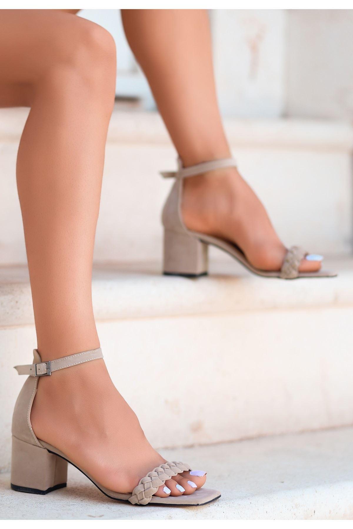 Jinda Vizon Süet Topuklu Ayakkabı