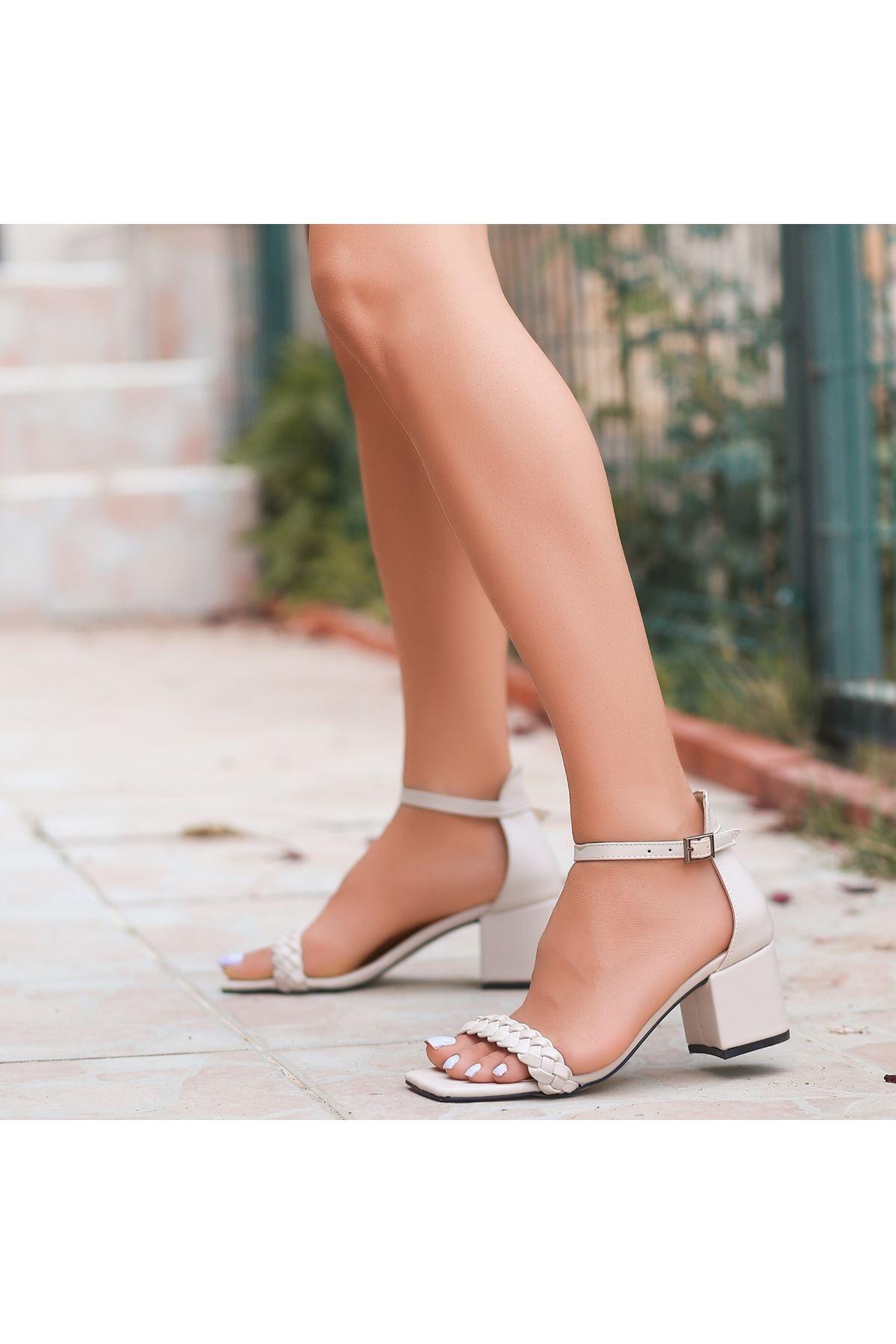 Jinda Krem Cilt Topuklu Ayakkabı