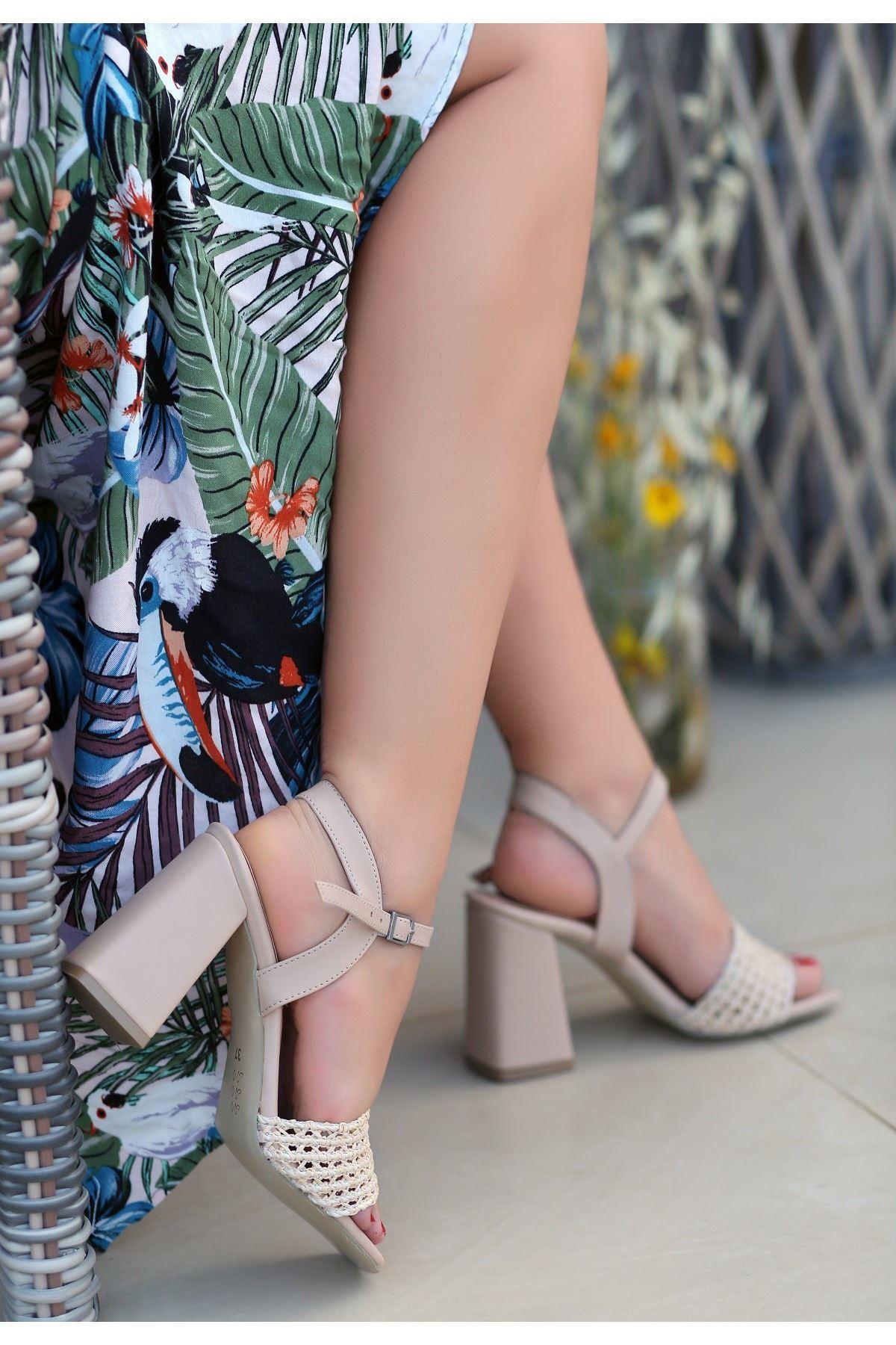 Sesto Vizon Cilt Örgülü Topuklu Ayakkabı