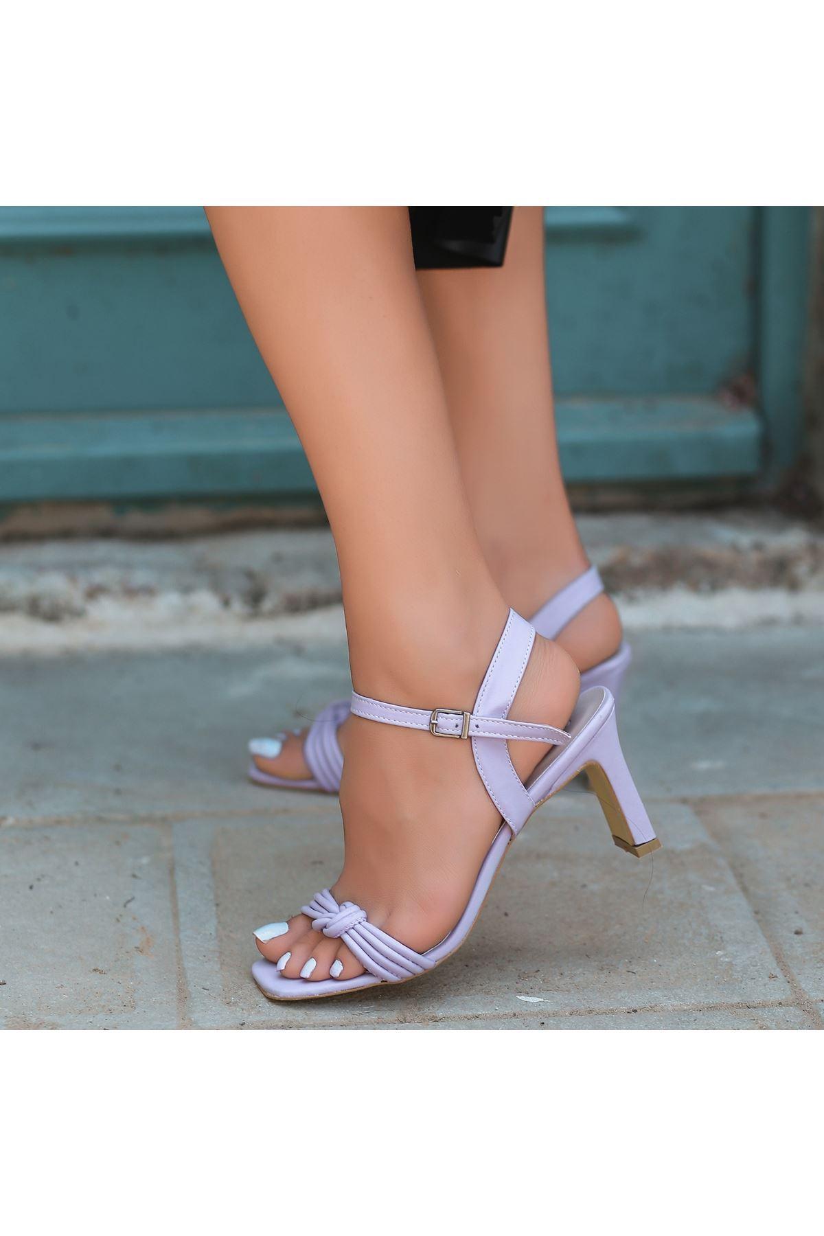 Zioni Lila Cilt Topuklu Ayakkabı