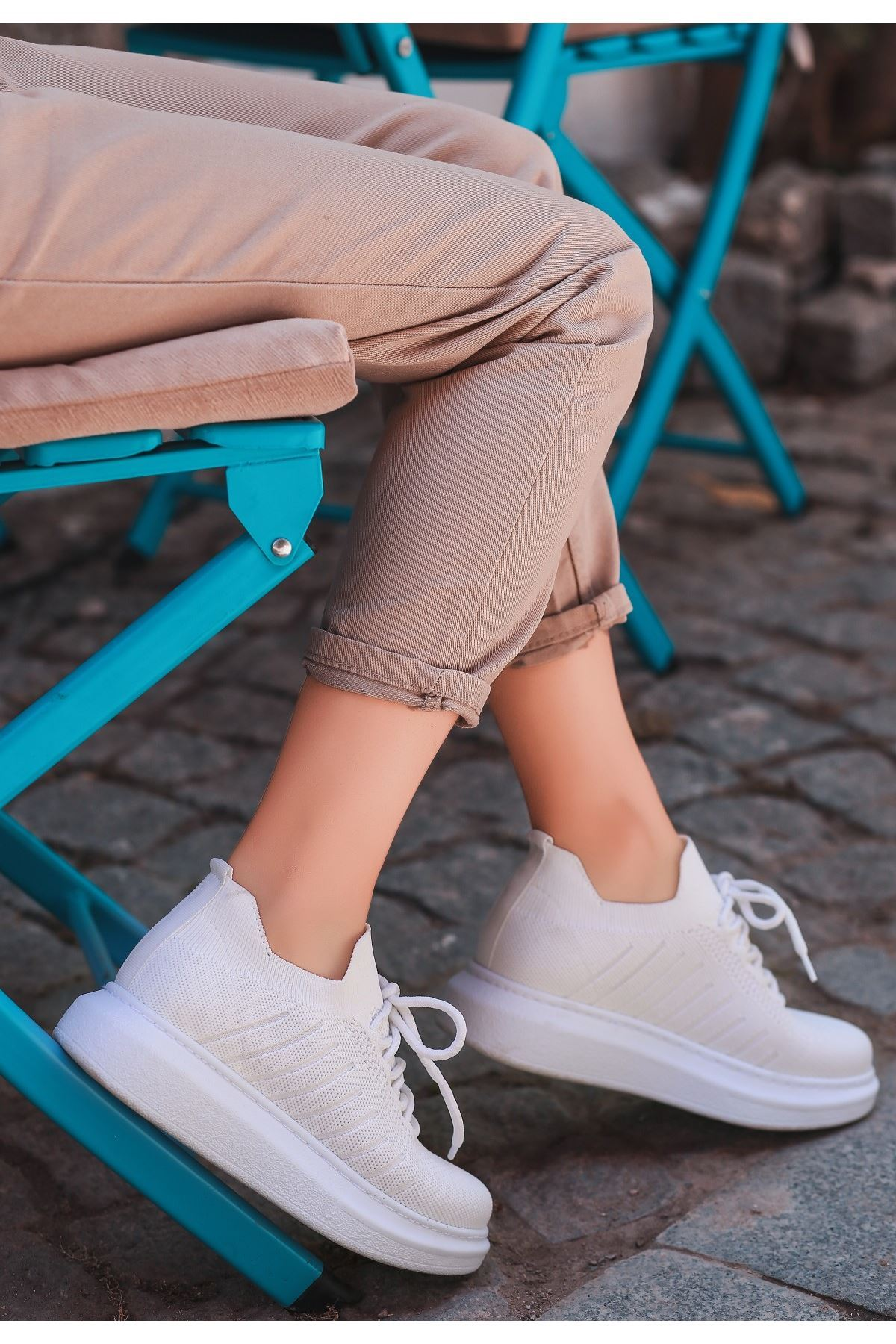 Fidox Beyaz Triko Bağcıklı Spor Ayakkabı