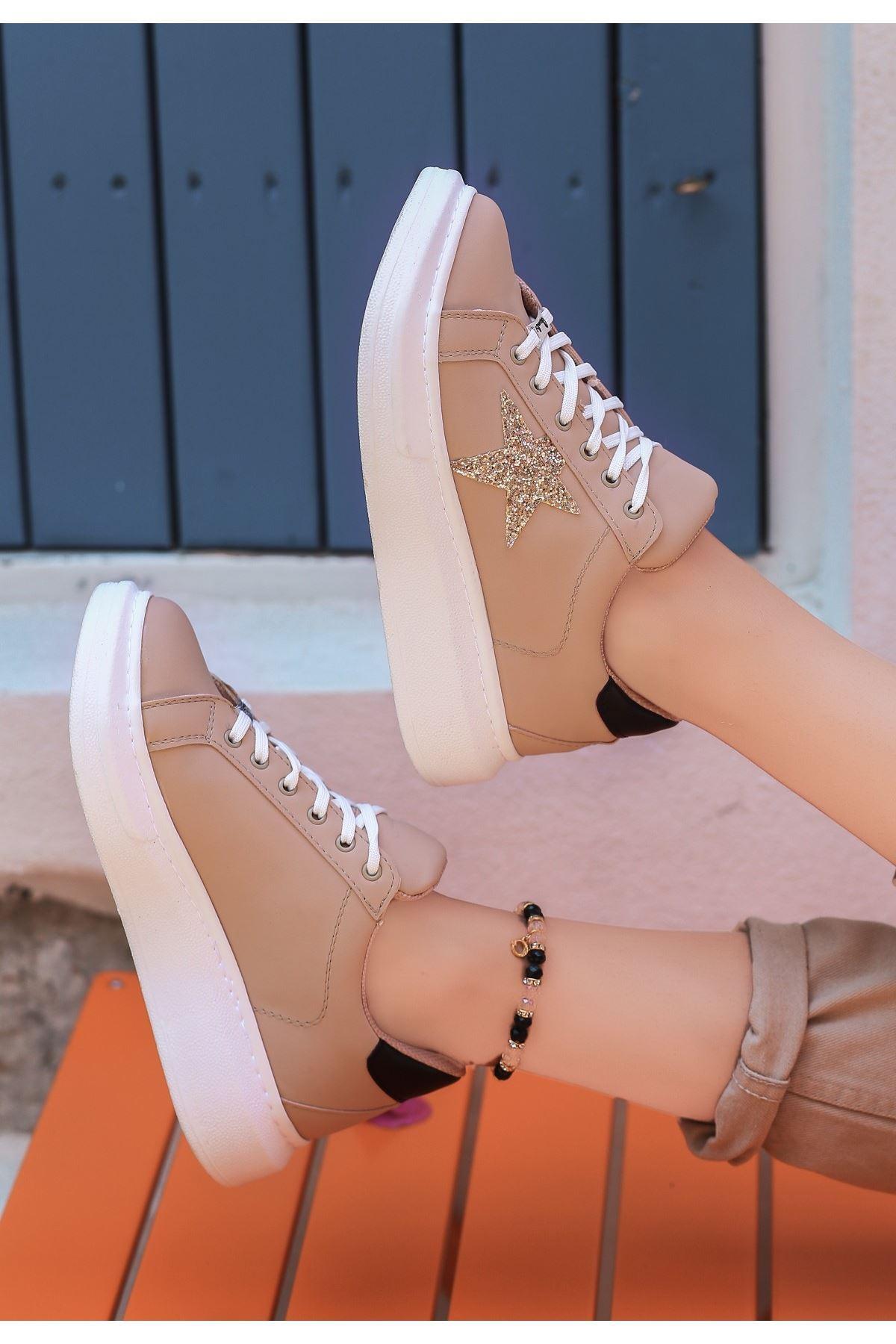 Cene Vizon Cilt Simli Beyaz Tabanlı Spor Ayakkabı