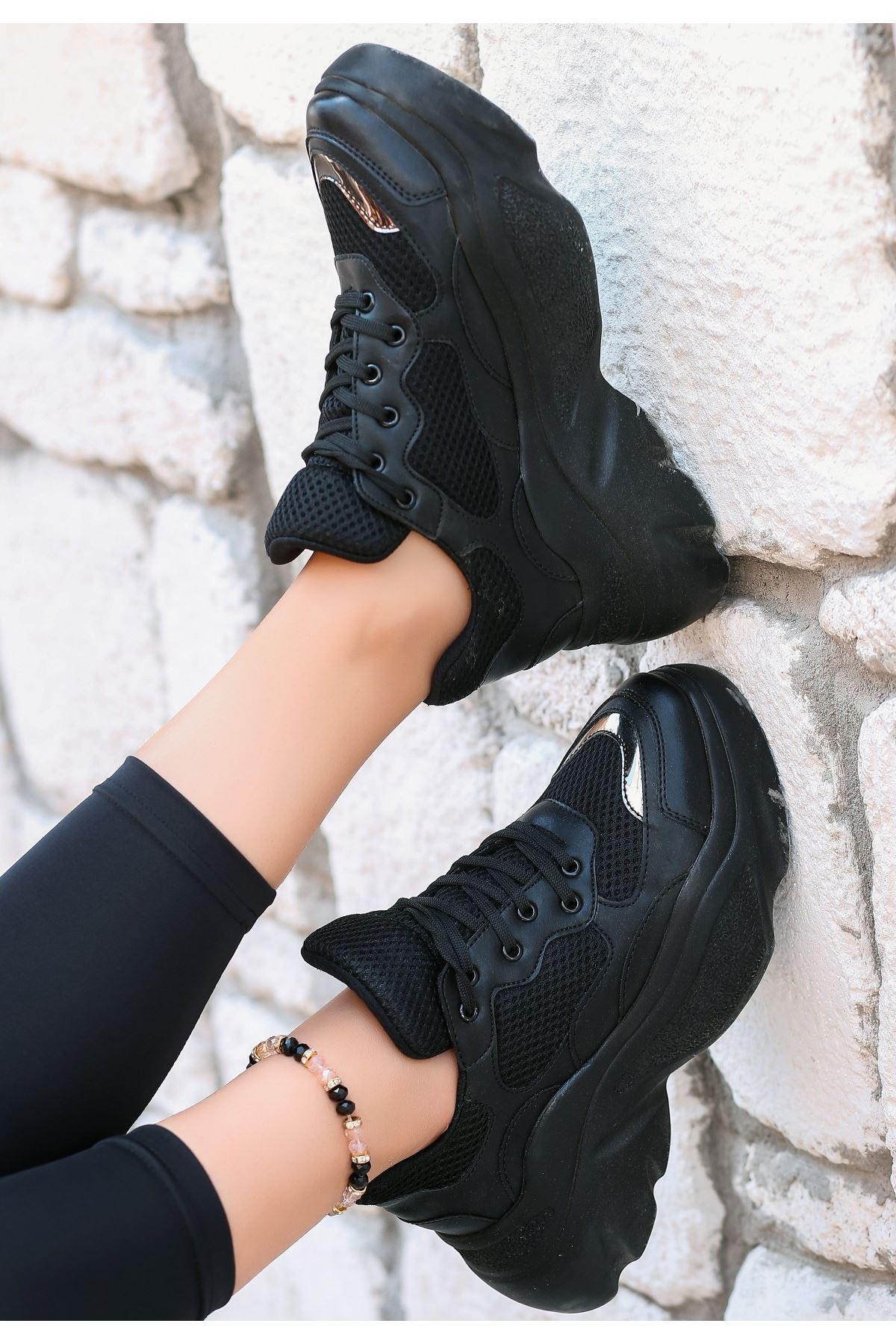 Zoly Siyah Cilt Fileli Bağcıklı Spor Ayakkabı