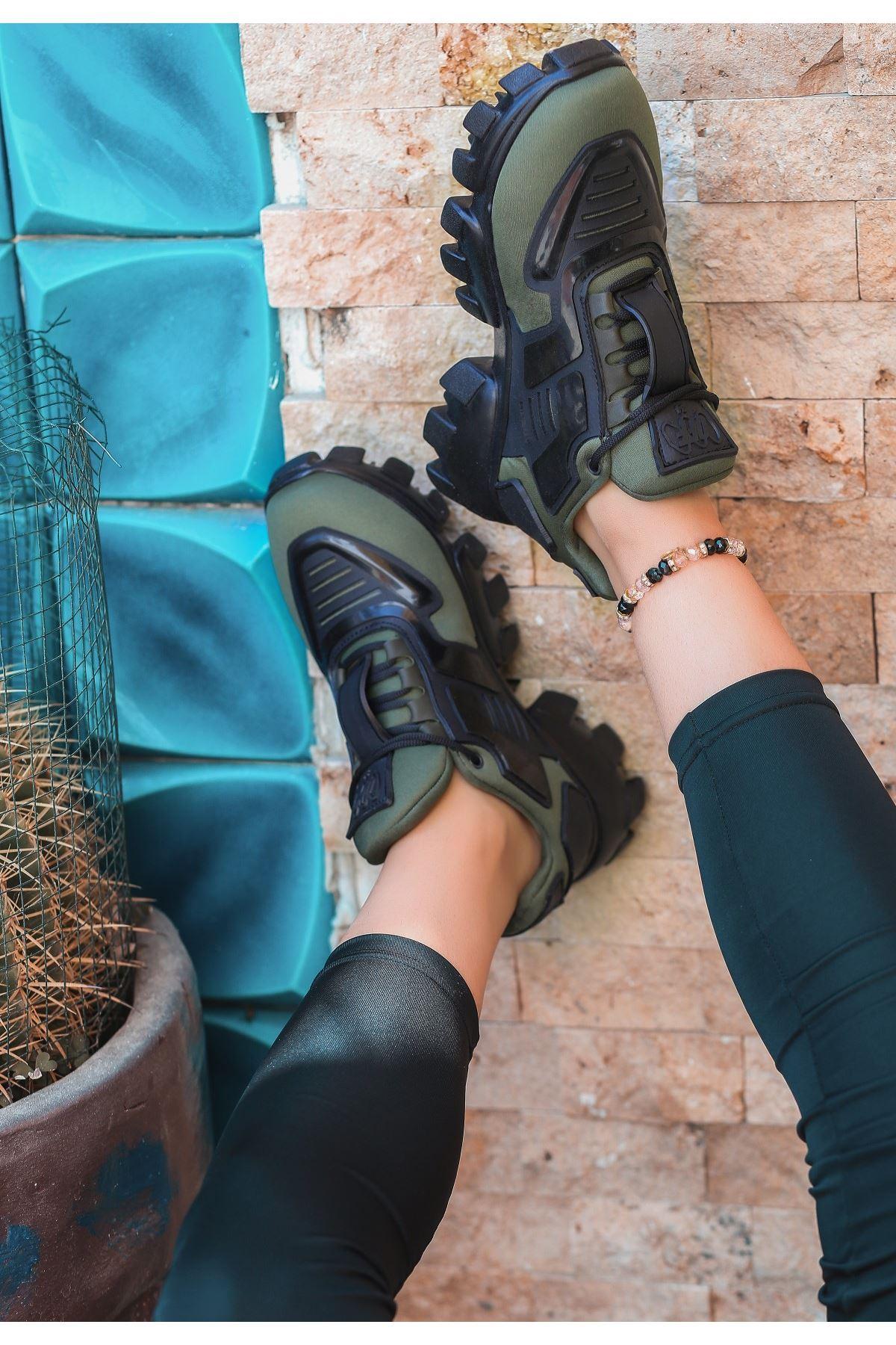 Moris Haki Yeşil Bağcıklı Spor Ayakkabı