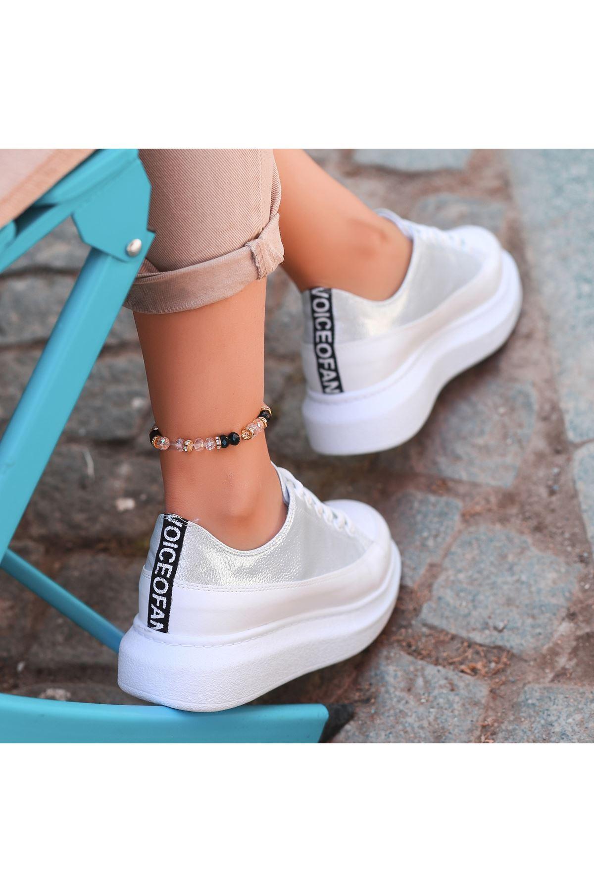Voni Beyaz Cilt Gümüş Rugan Detaylı Bağcıklı Spor Ayakkabı