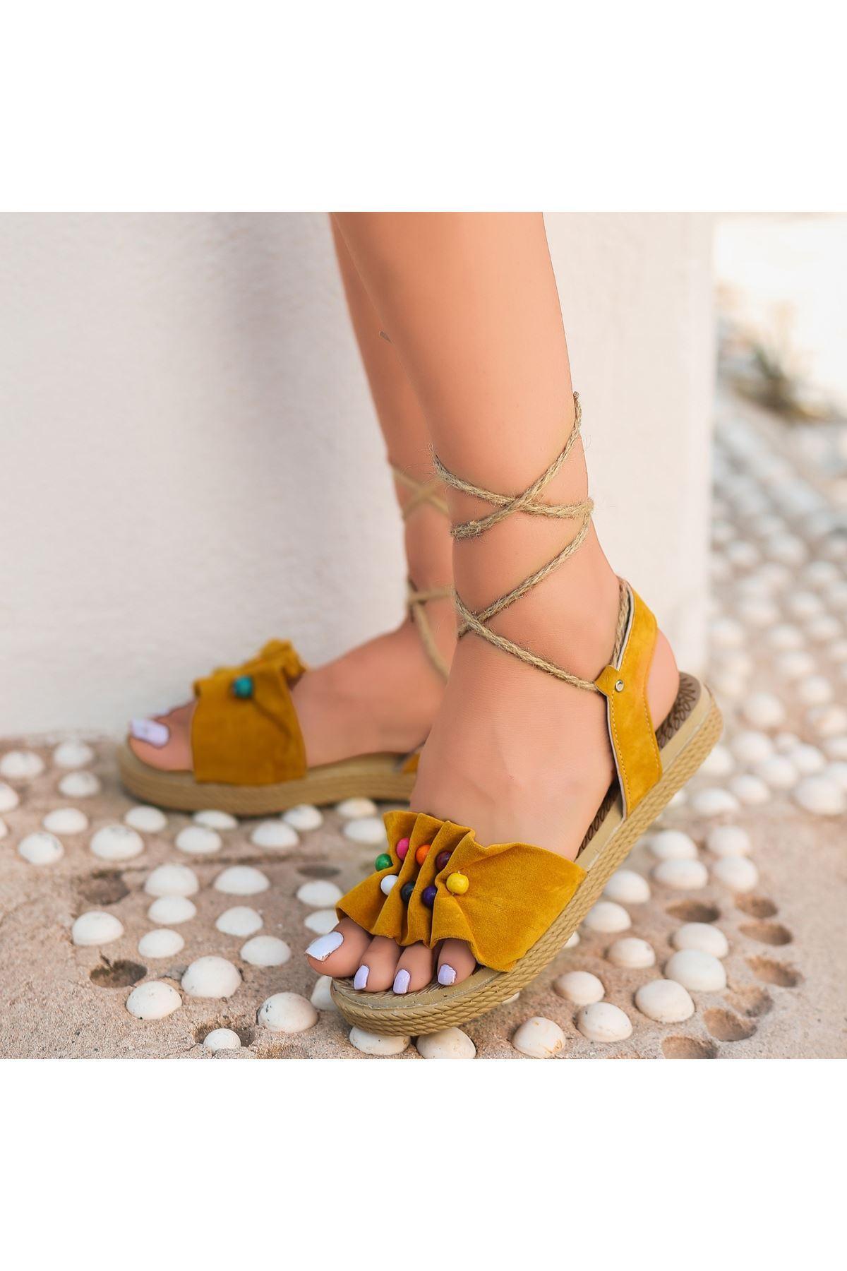 Conty Hardal Süet Bağcıklı Sandalet
