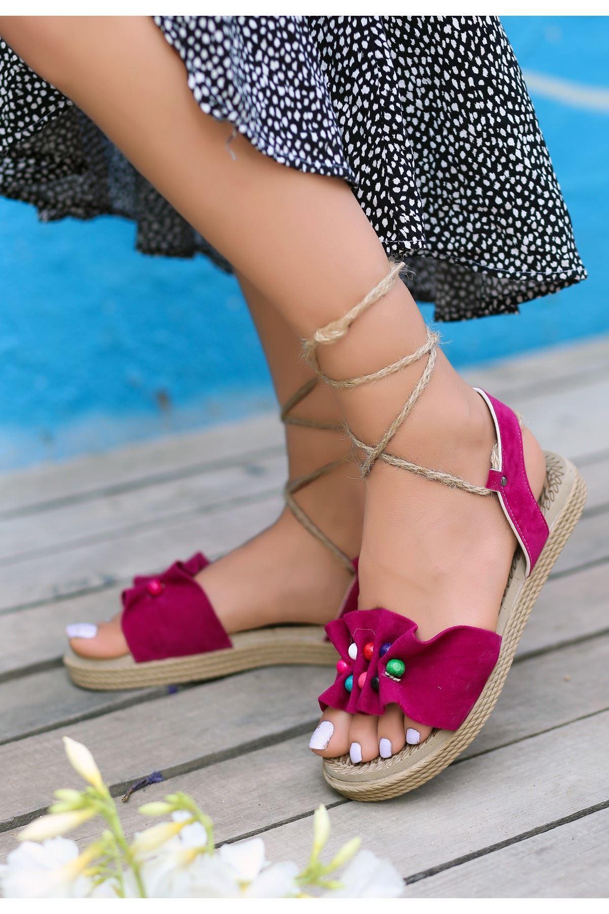 Conty Fuşya Süet Bağcıklı Sandalet
