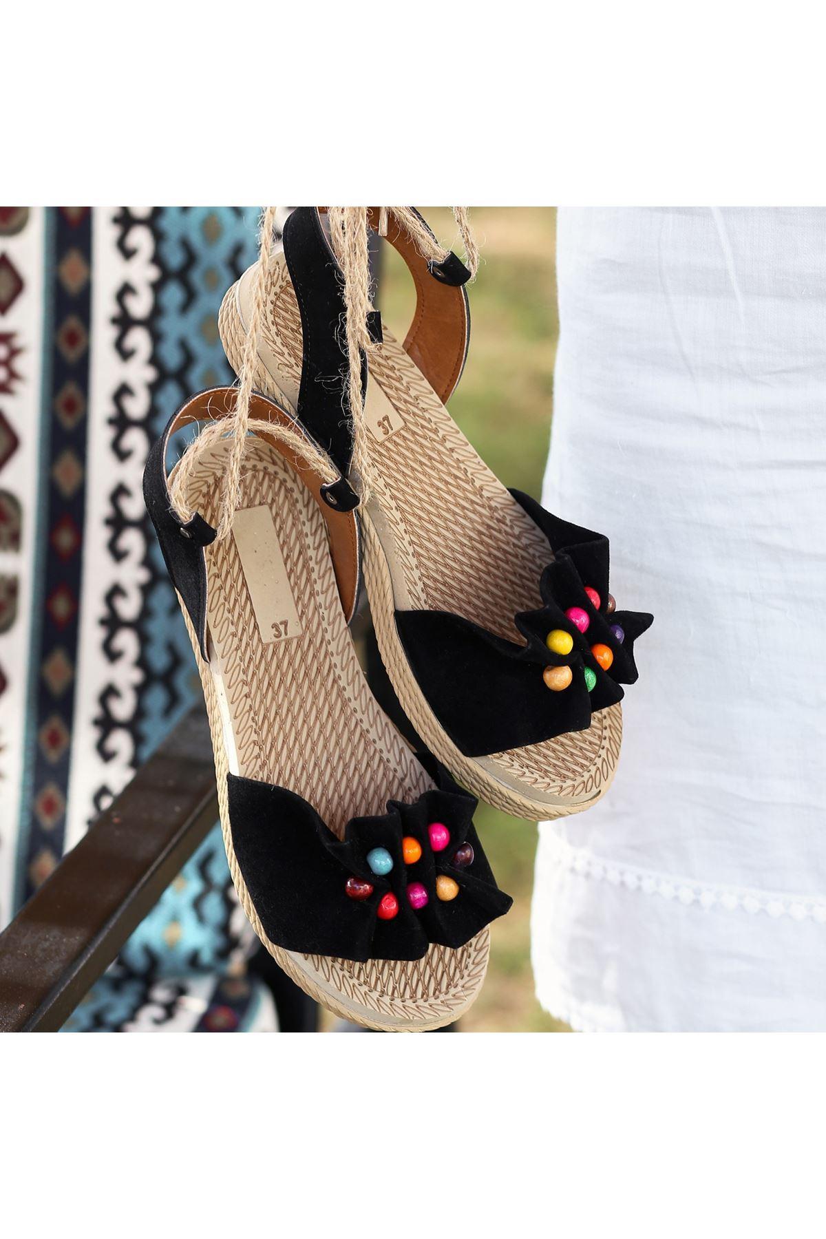 Conty Siyah Süet Bağcıklı Sandalet