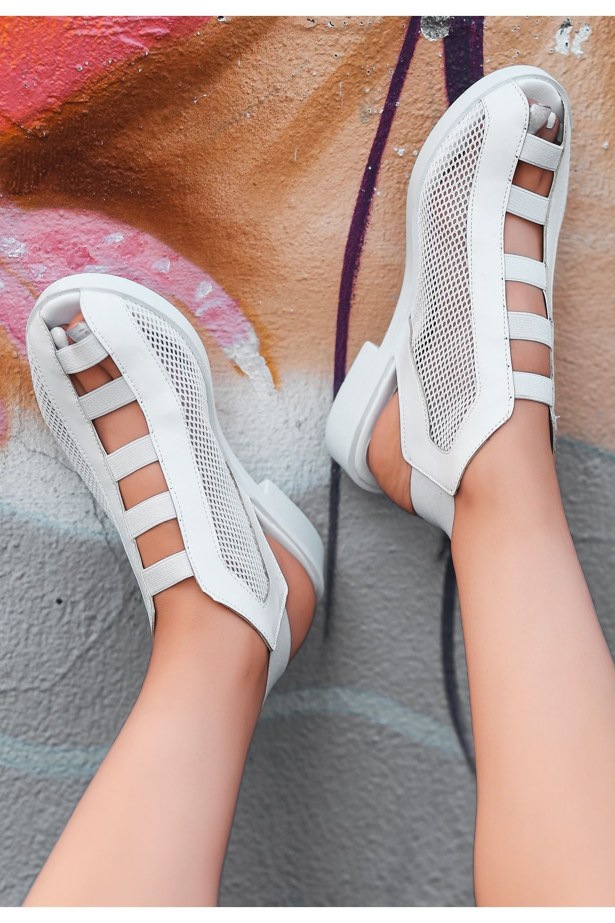 Filex Beyaz Cilt Sandalet