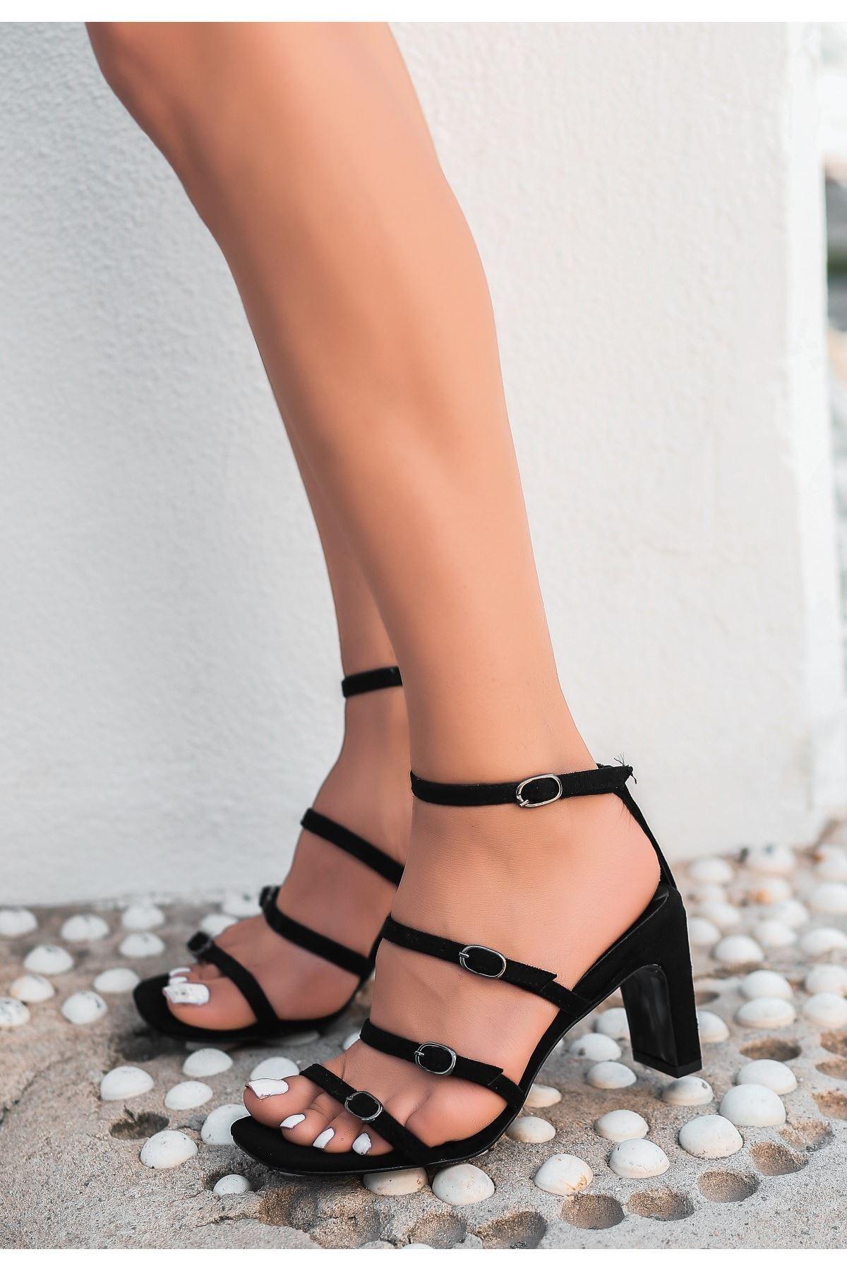 Eleta Siyah Süet Topuklu Ayakkabı