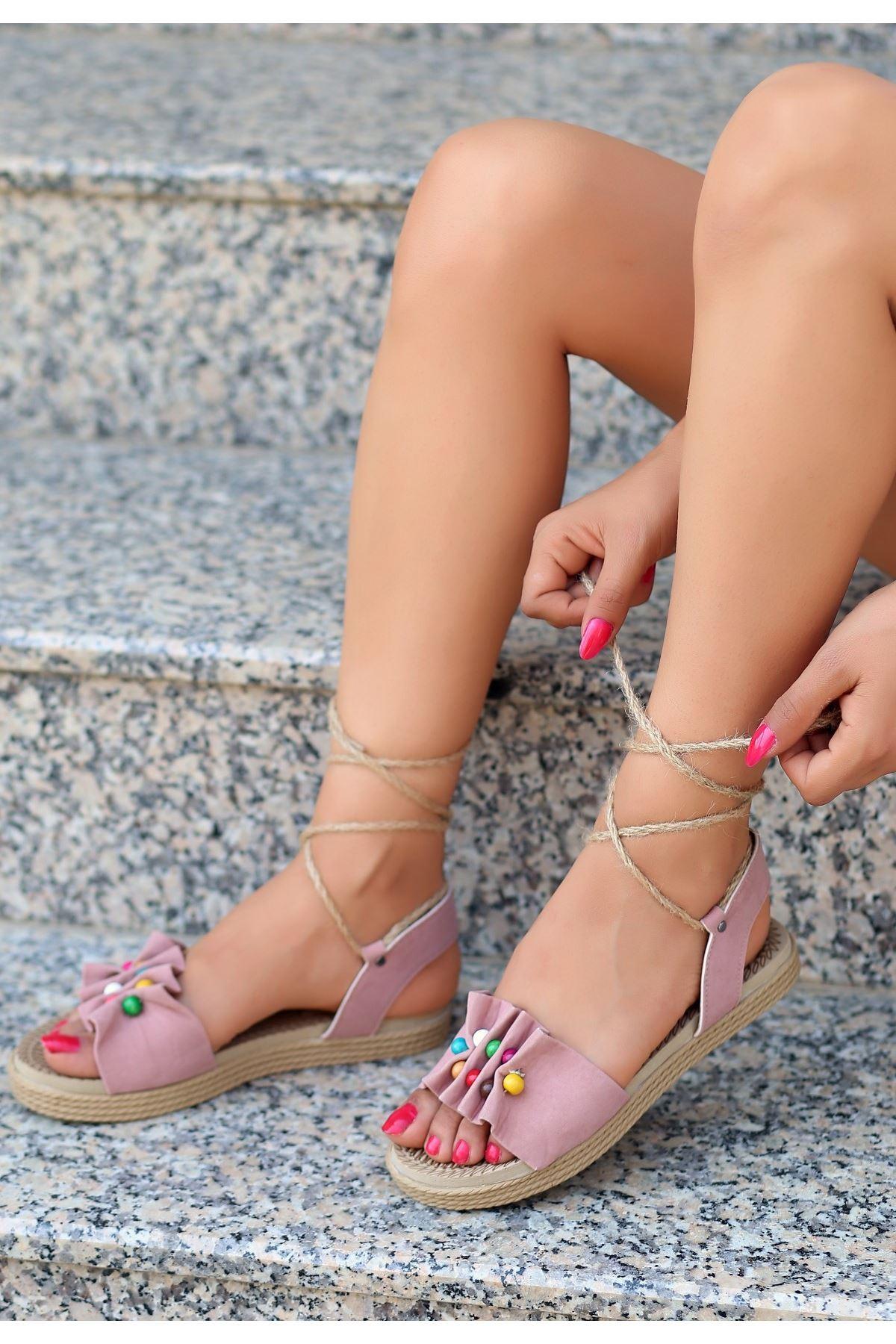 Conty Pudra Süet Bağcıklı Sandalet