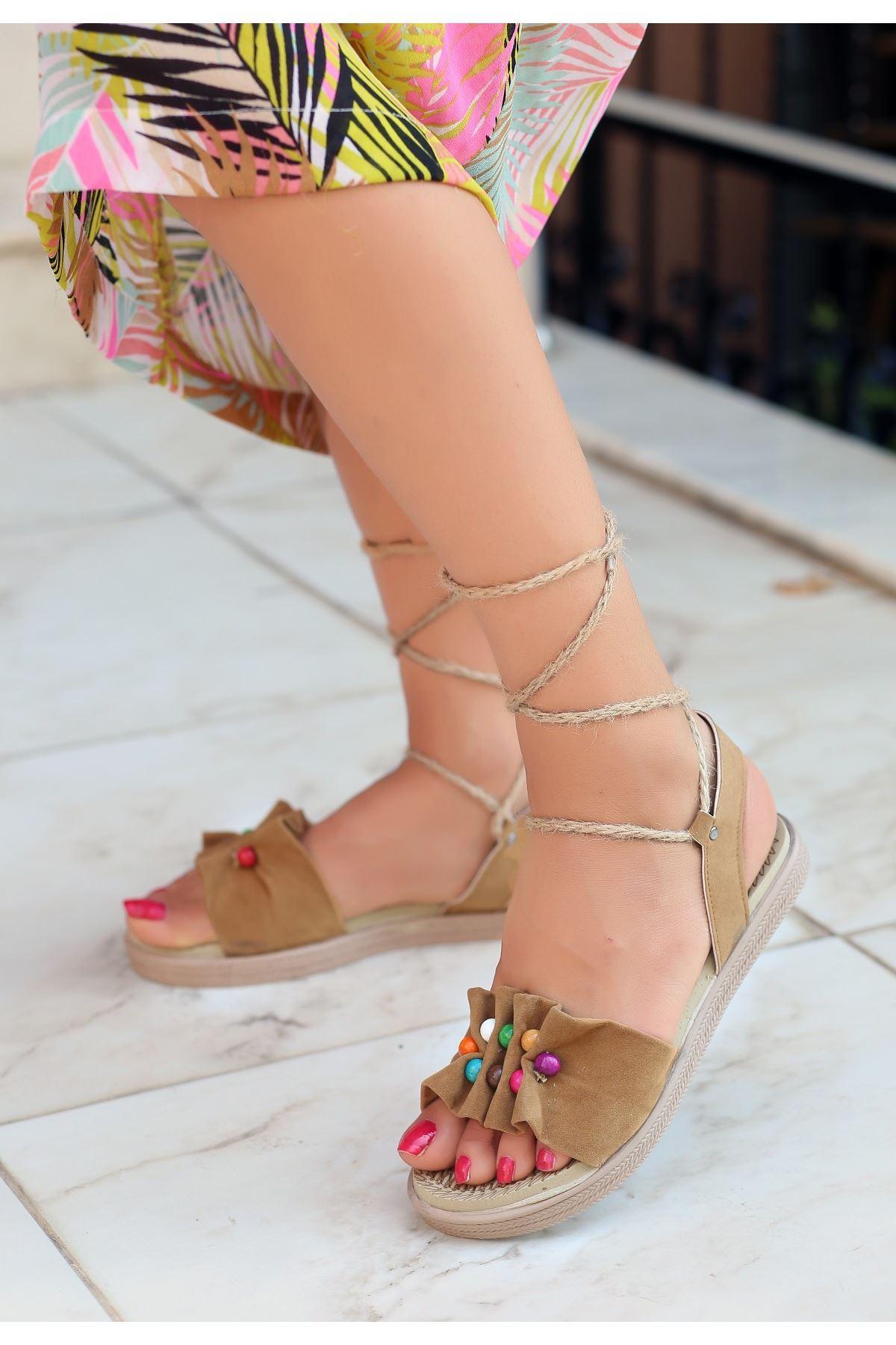 Conty Koyu Vizon Süet Bağcıklı Sandalet