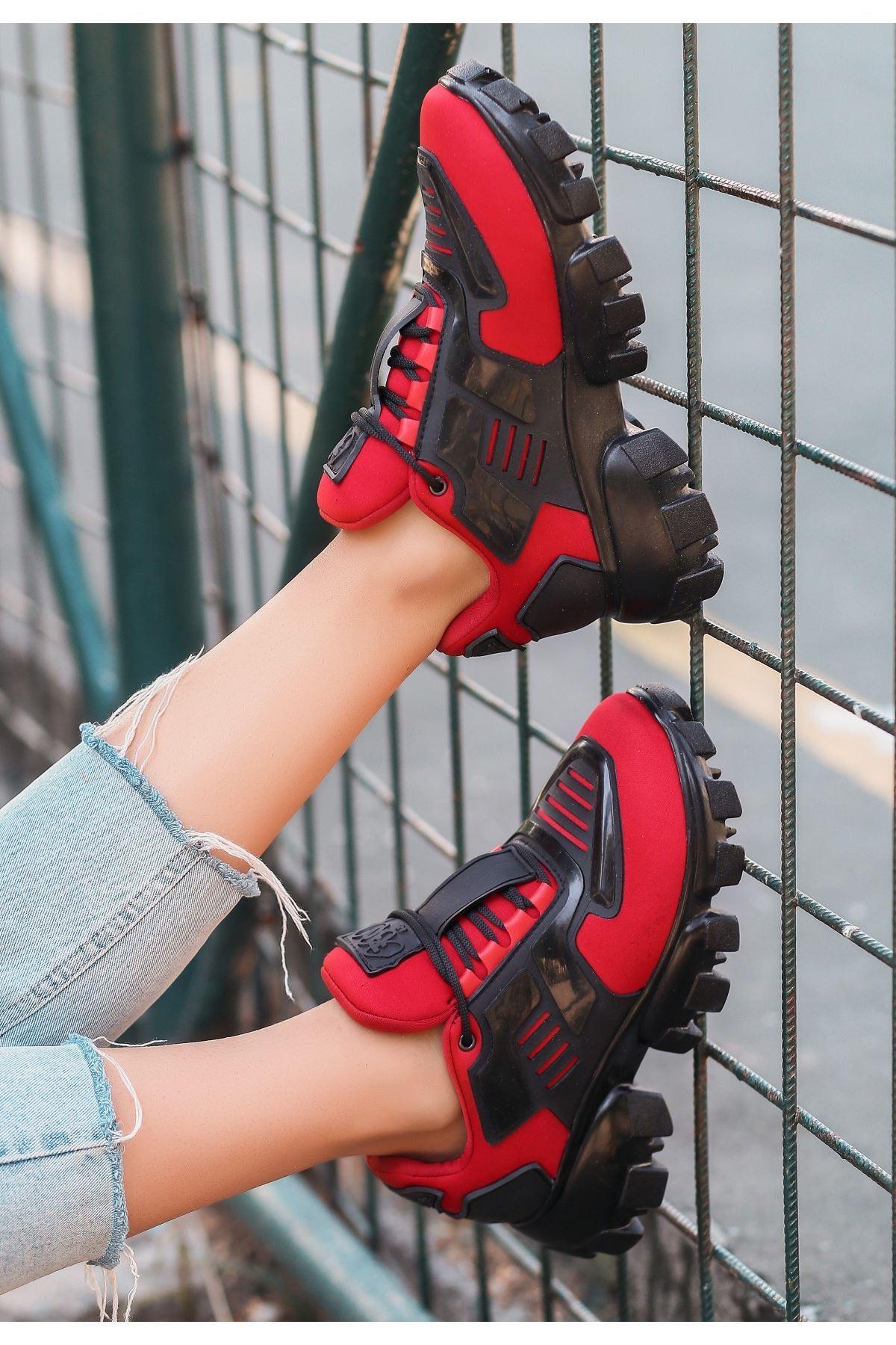 Moris Kırmızı Bağcıklı Spor Ayakkabı